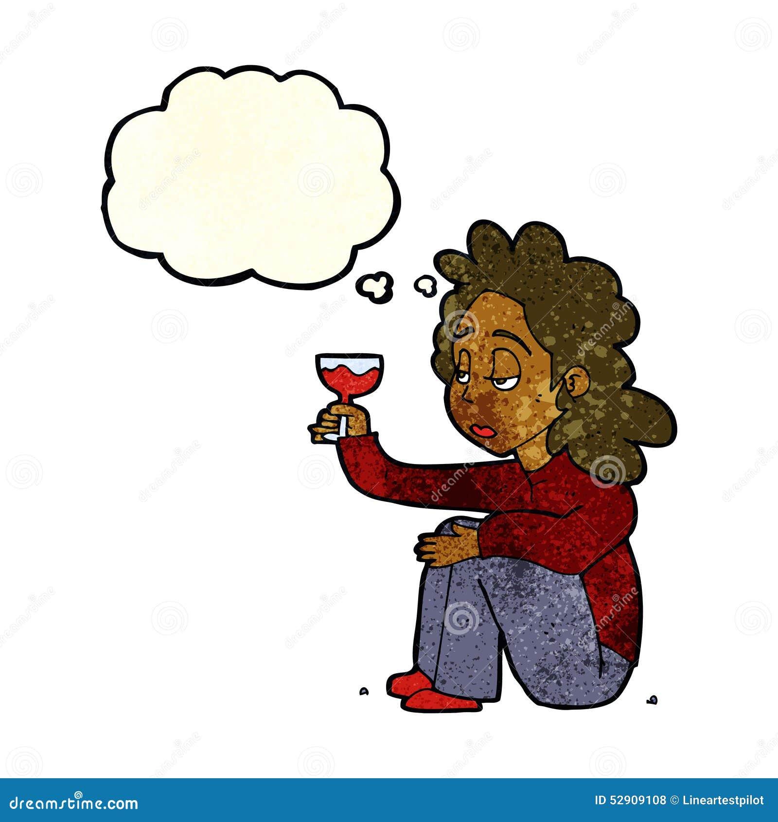 Femme Malheureuse De Bande Dessinée Avec Le Verre De Vin