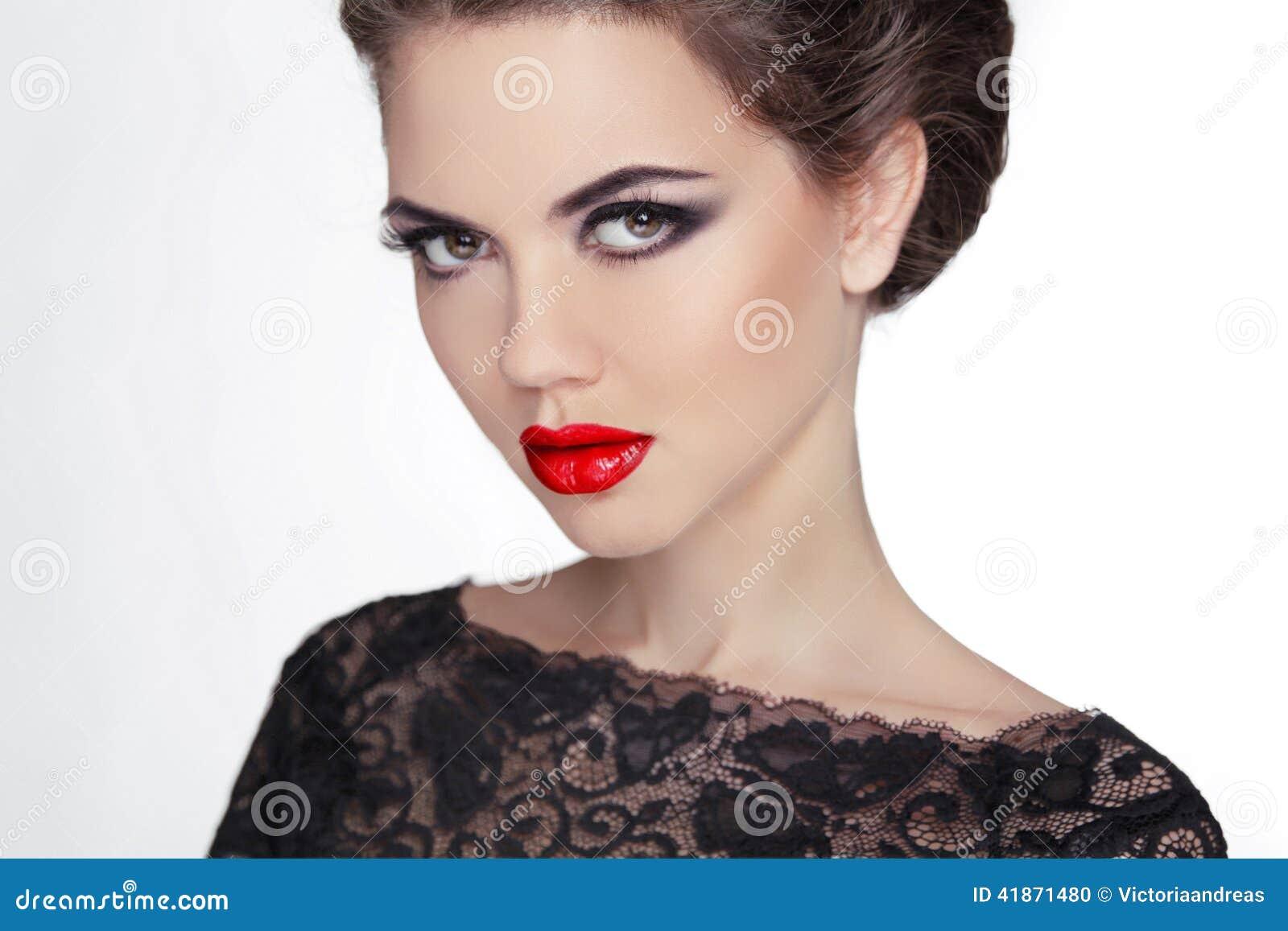 Femme Maquillage stare Madame mystérieuse de style de vintage Rétro femal