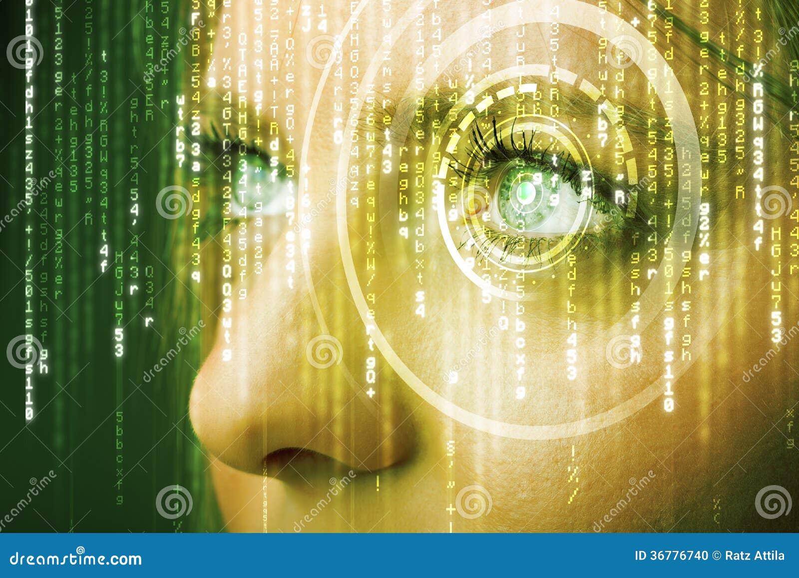 Femme moderne de cyber avec l oeil de matrice