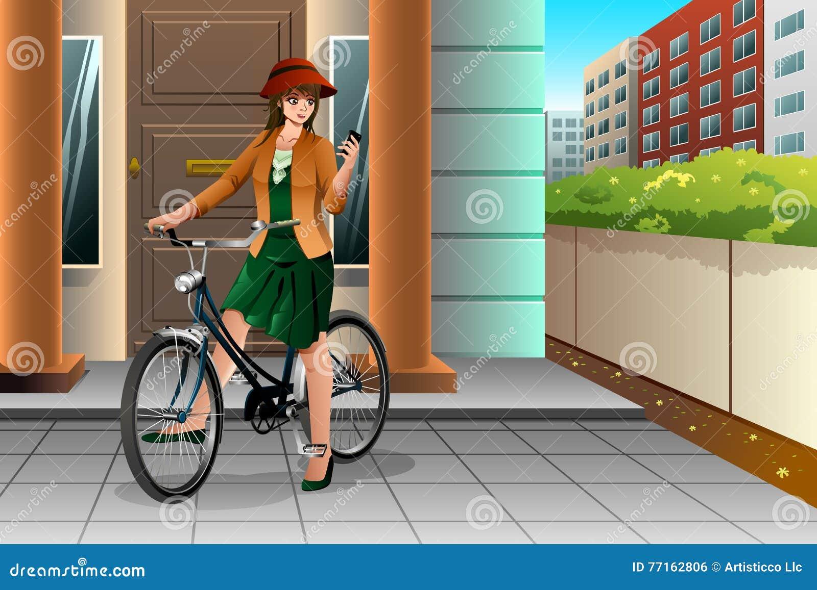 Femme montant un vélo et regardant son téléphone