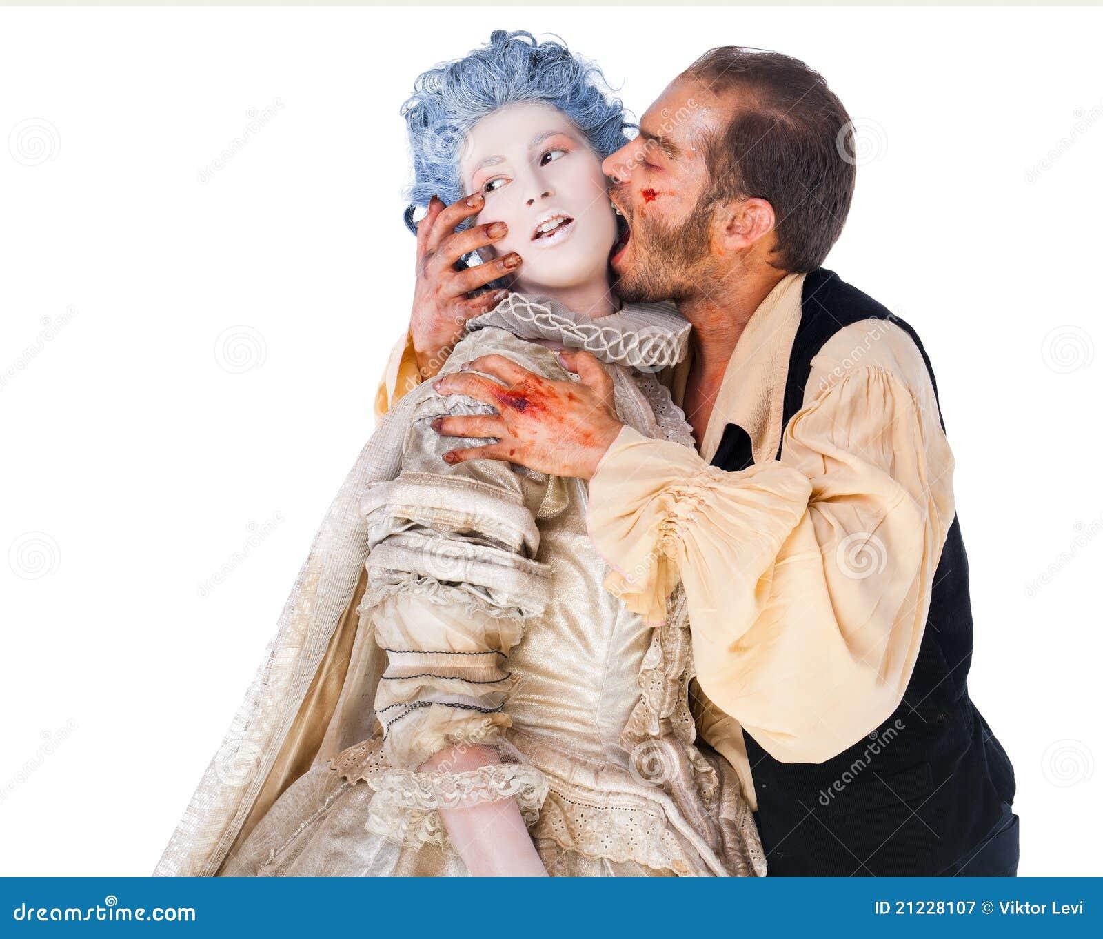 Femme mordante de vampire médiéval