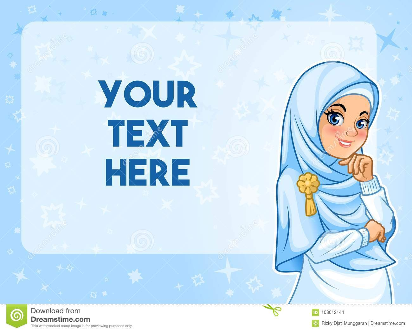 Femme musulmane ayant sa main sous l illustration de vecteur de menton
