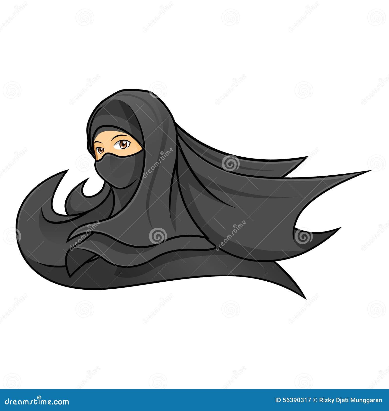 Femme Musulmane Portant Un Voile Noir Illustration De Vecteur