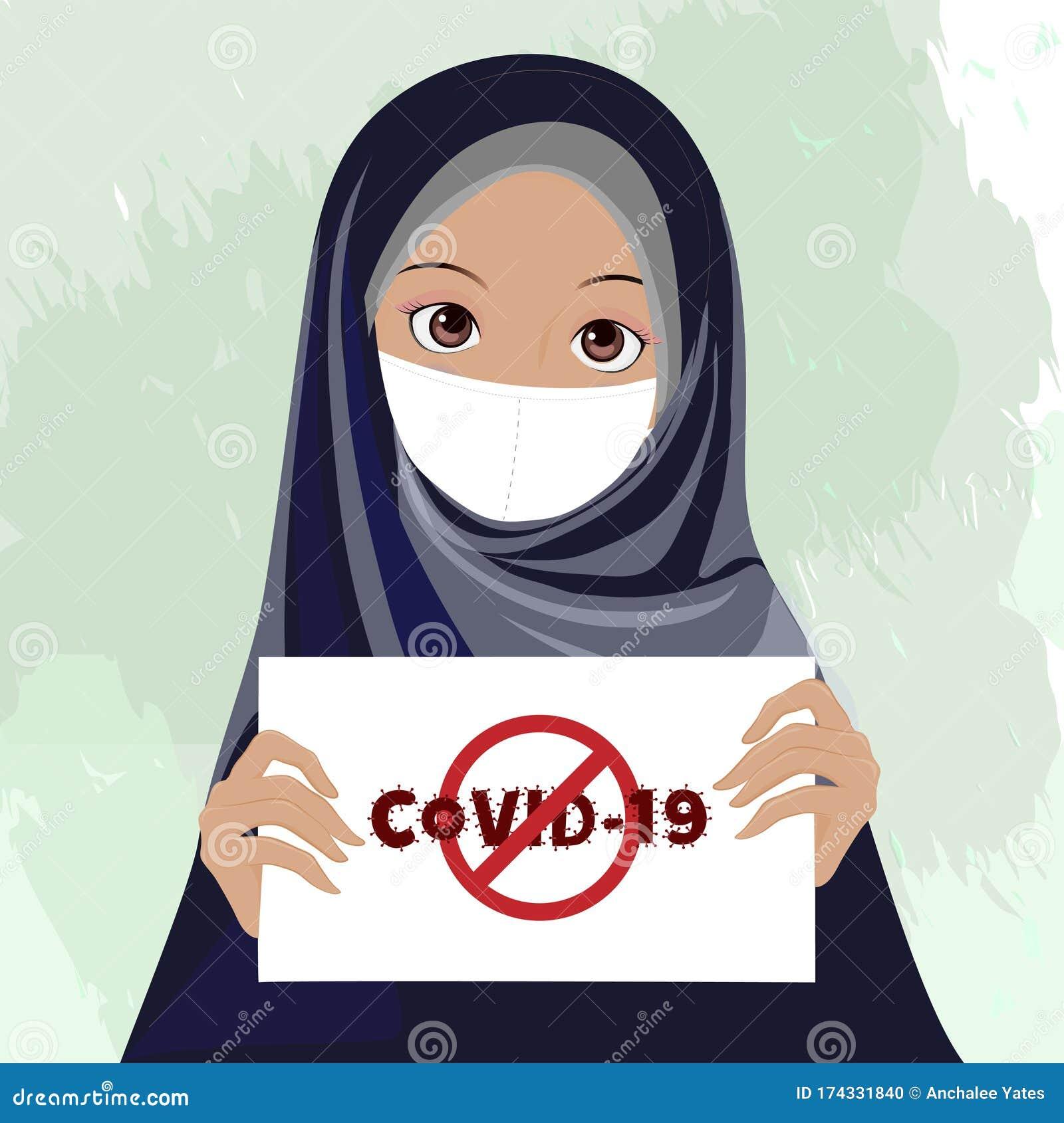 Femme Musulmane Vectorielle Portant Le Voile Du Hijab Portant Le Pave Blanc Avec L Avertissement De Covid 19 Cartoon Islam Girl Illustration De Vecteur Illustration Du Portant Musulmane 174331840