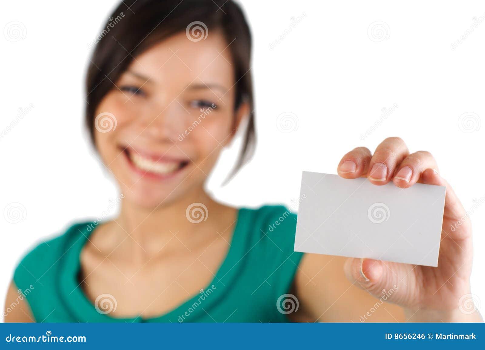 Femme occasionnel blanc de carte de visite professionnelle de visite