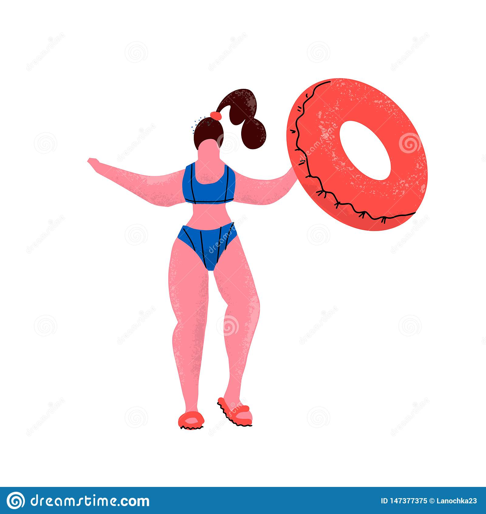 Femme plus de taille avec l anneau en caoutchouc Fille dans le bikini avec le cercle gonflable dans la piscine Femme positive dan