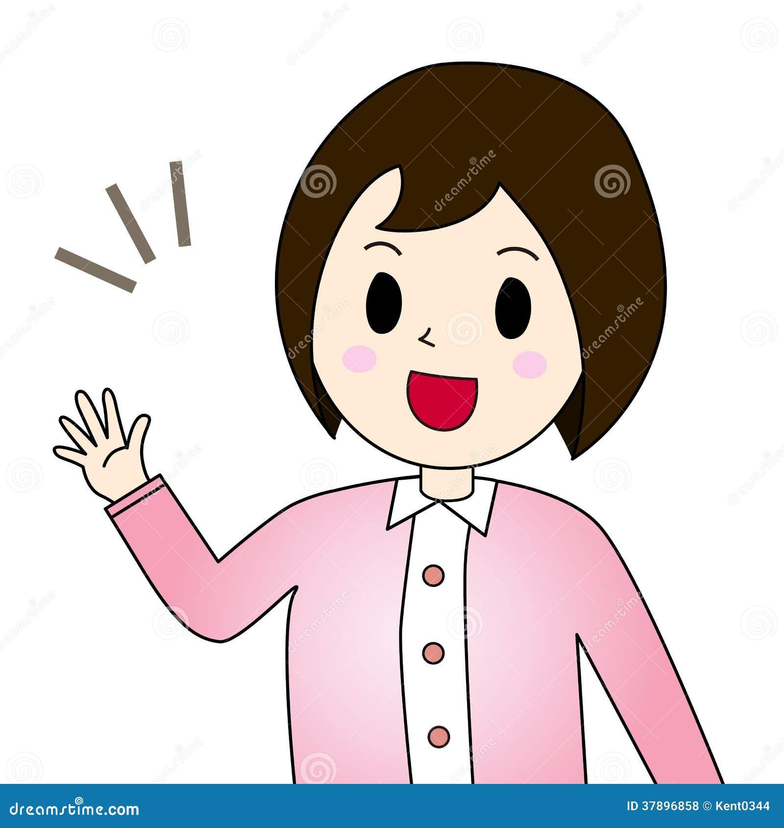 femme qui salue illustration de vecteur illustration du services clip art service clipartof