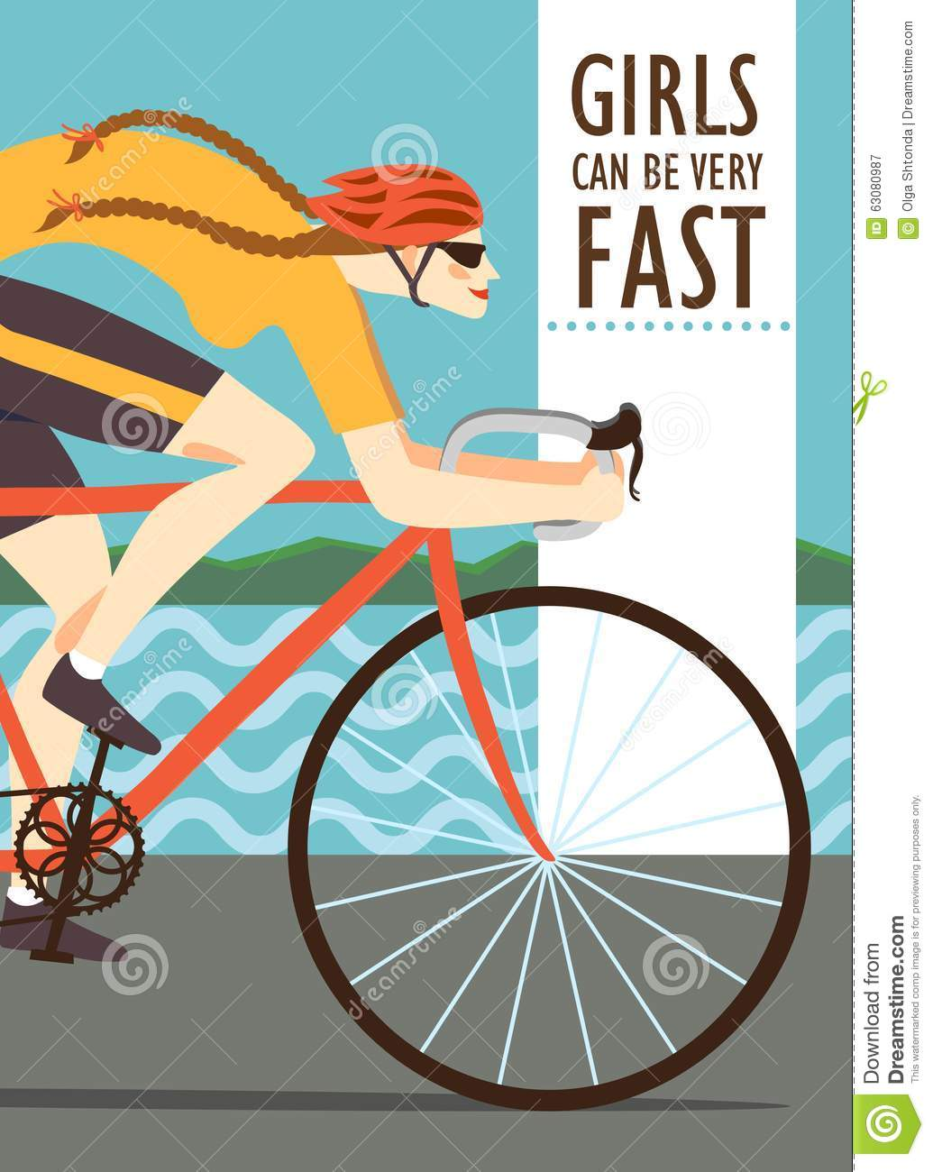 Download Femme Rapide Emballant L'affiche De Cycliste Illustration Stock - Illustration du actif, chemin: 63080987