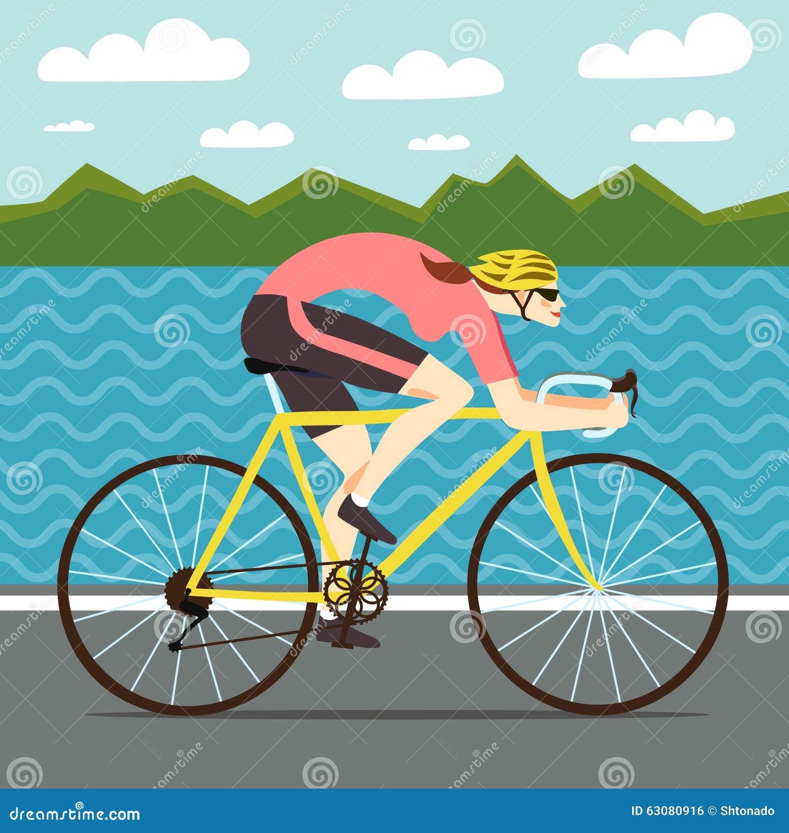 Download Femme Rapide Emballant Le Cycliste Illustration Stock - Illustration du pédale, couleur: 63080916