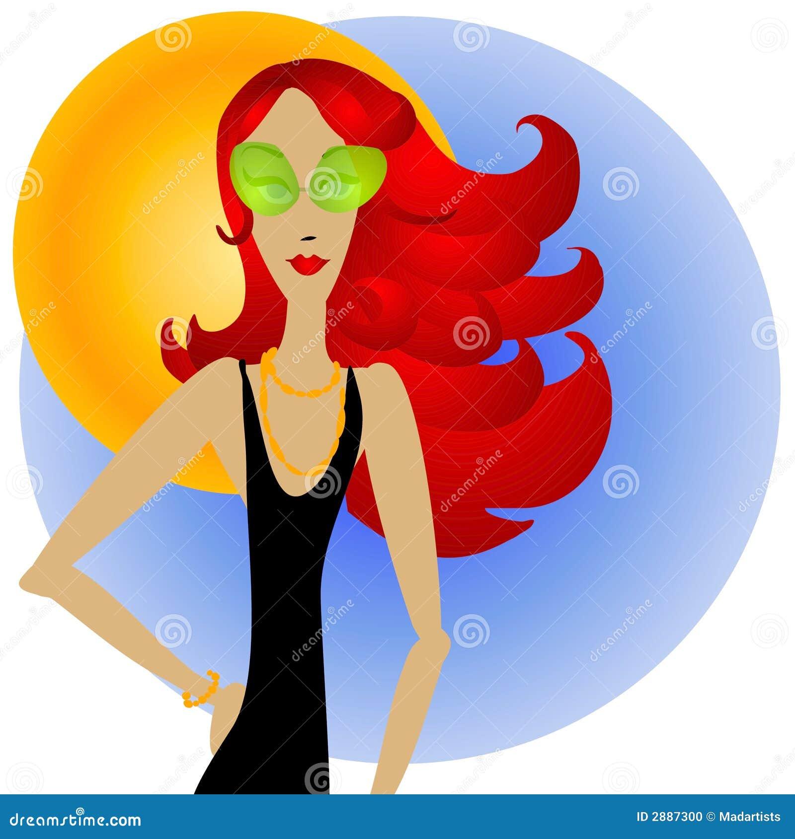 Femme rousse et lunettes de soleil