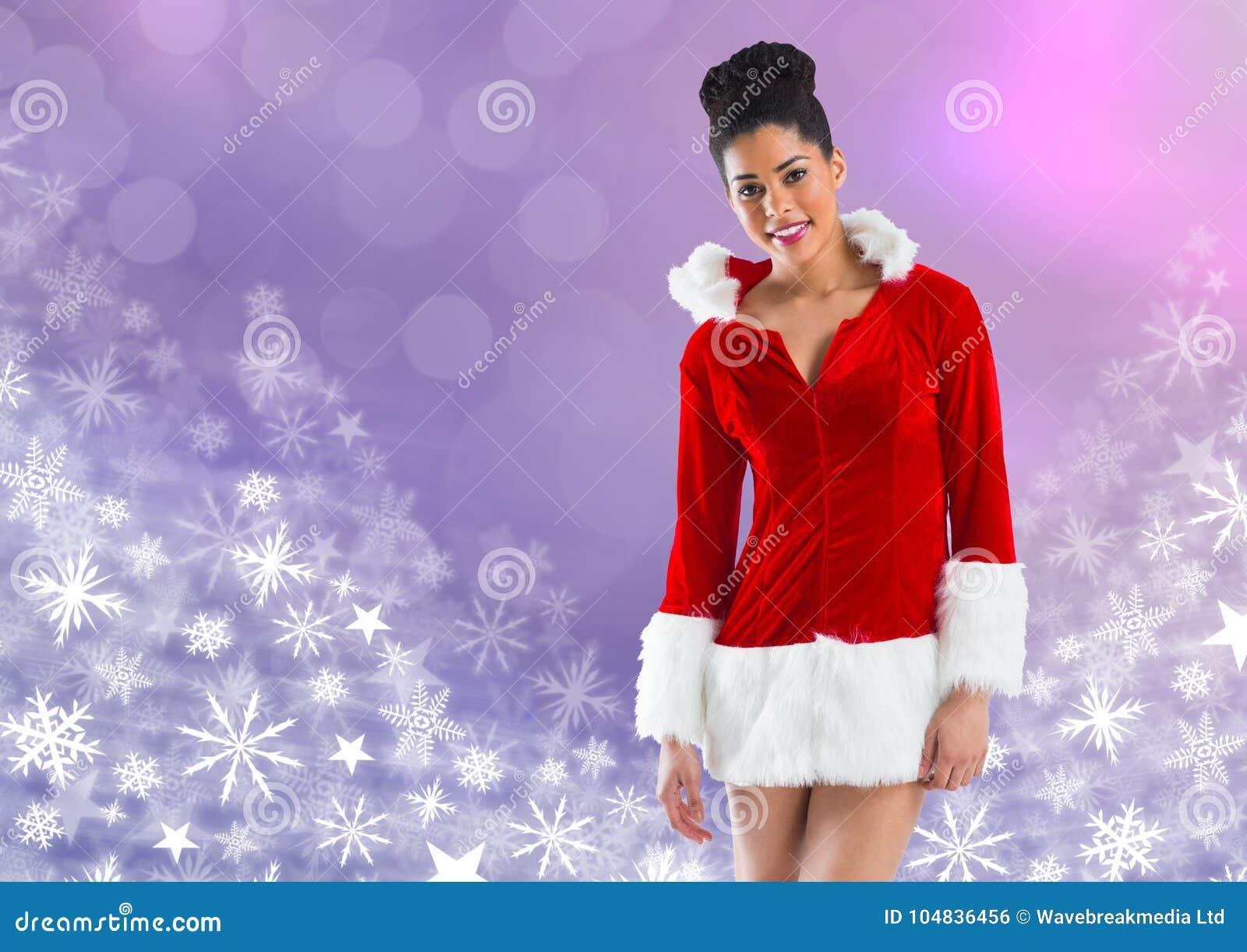 Femme Santa et modèles de Noël de flocon de neige