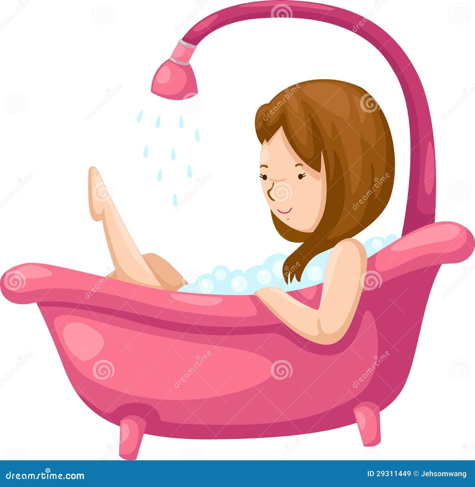 Femme se baignant dans la baignoire images libres de for Se doucher dans une baignoire