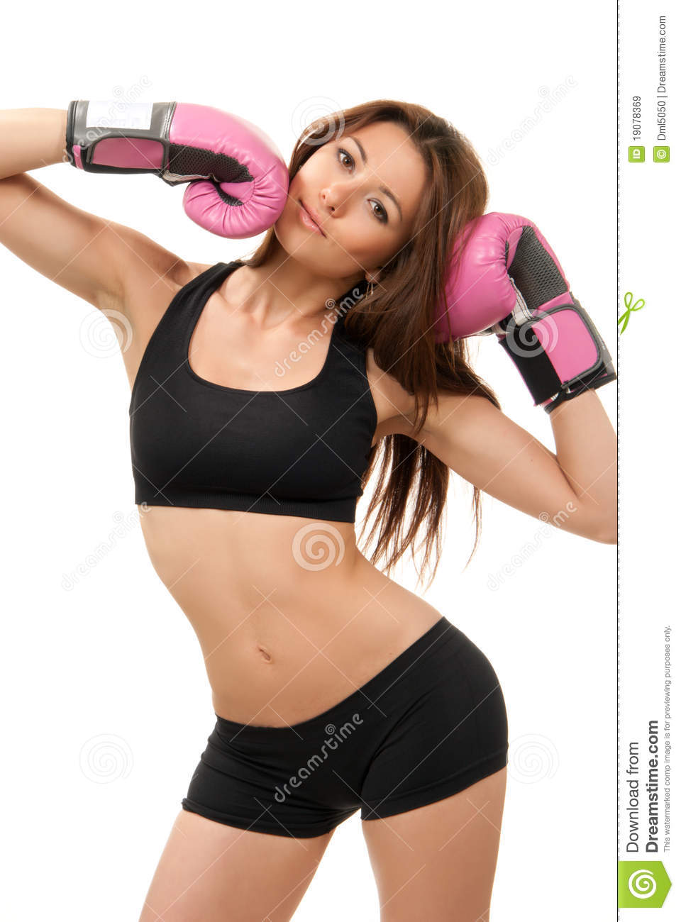 femme sexy de boxe de sport dans les gants roses de cadre image stock image 19078369. Black Bedroom Furniture Sets. Home Design Ideas