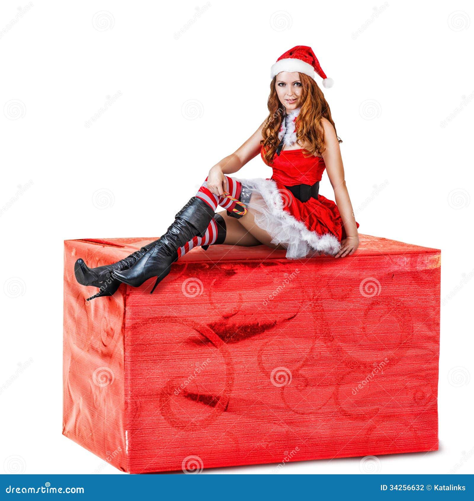femme sexy portant les v tements rouges du p re no l photo stock image 34256632. Black Bedroom Furniture Sets. Home Design Ideas