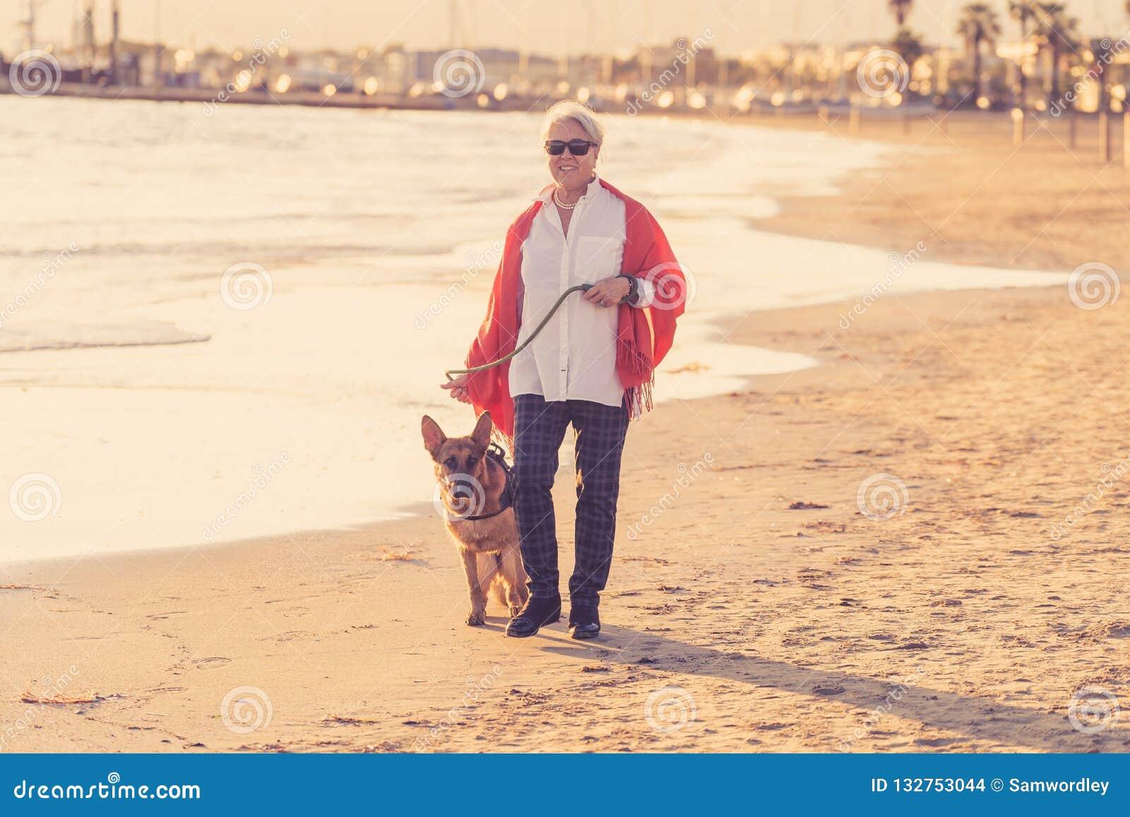 Femme supérieure attirante heureuse avec son chien allemand de shepard marchant sur la plage au coucher du soleil d automne