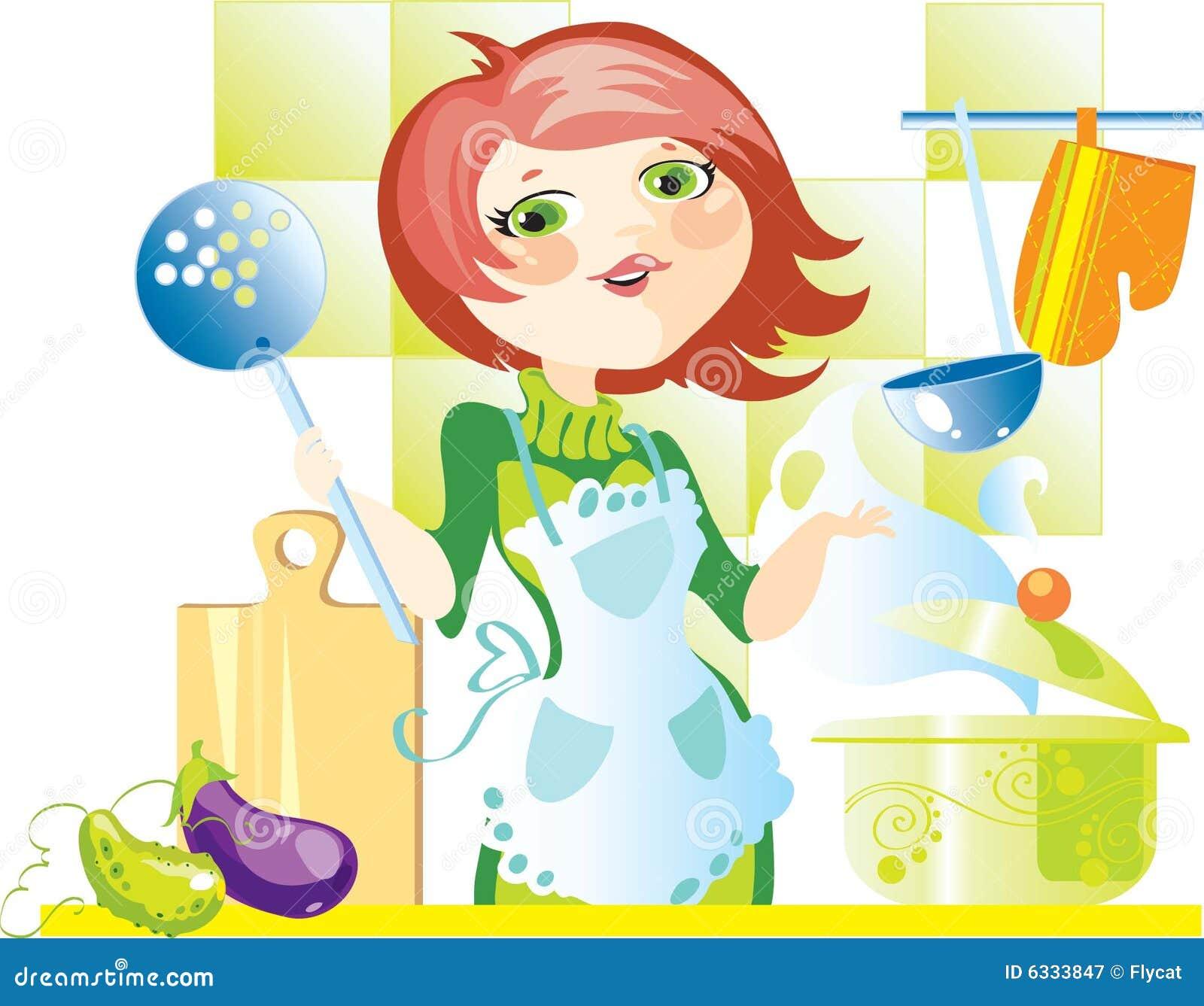Femme sur la cuisine