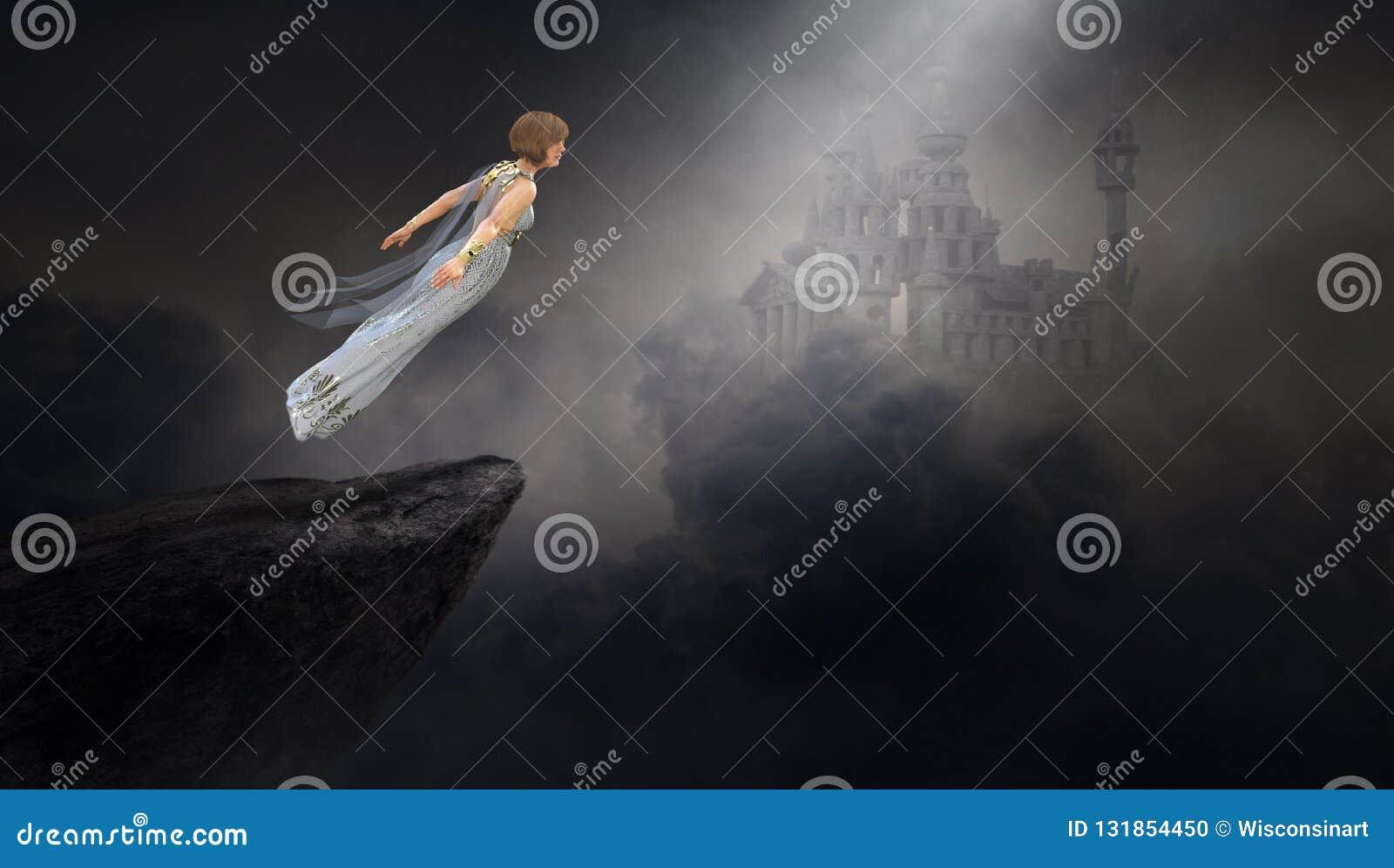 Femme surréaliste d imagination, château médiéval