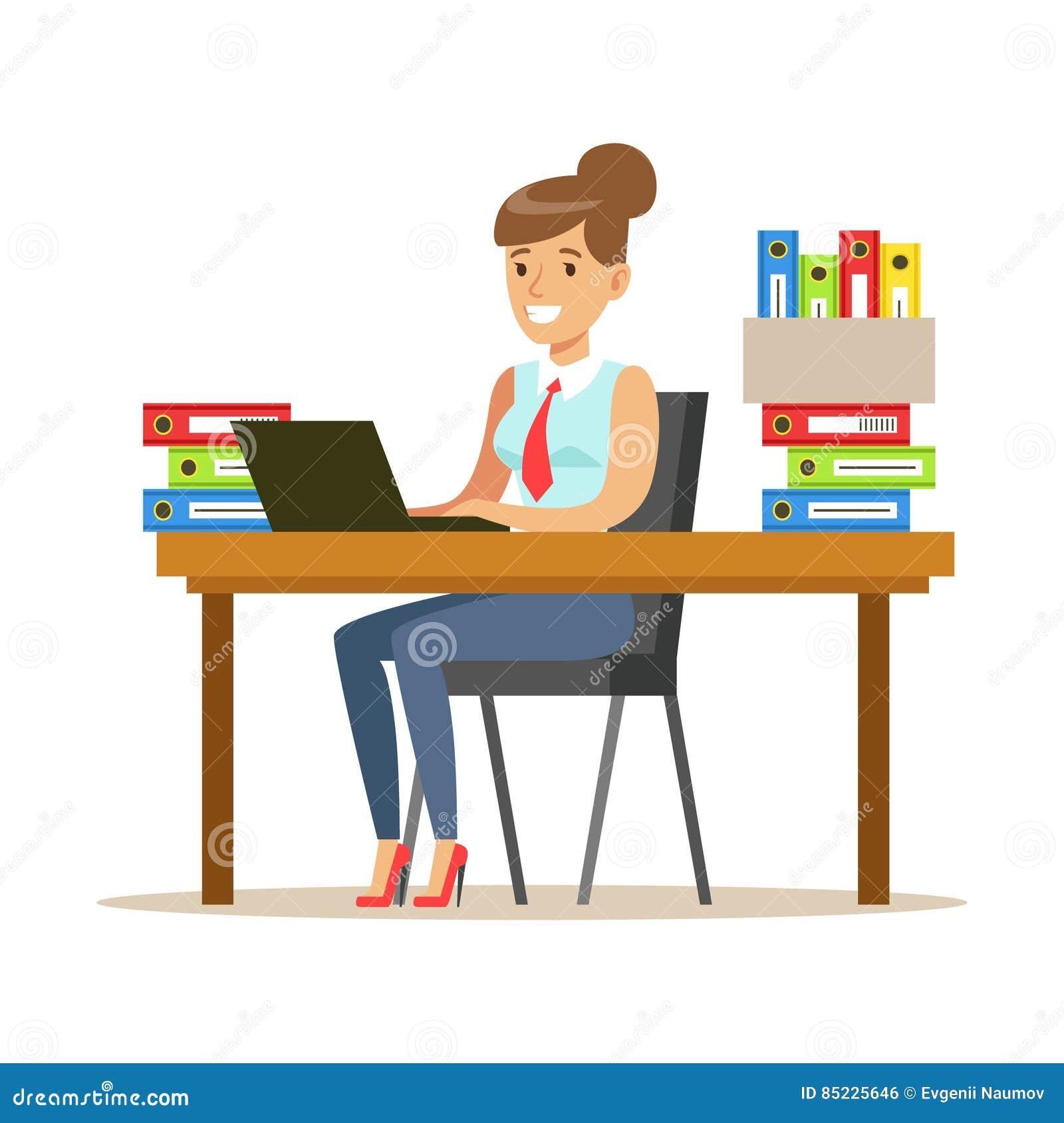 Femme travaillant son bureau avec l 39 ordinateur et - Secretaire ordinateur ...