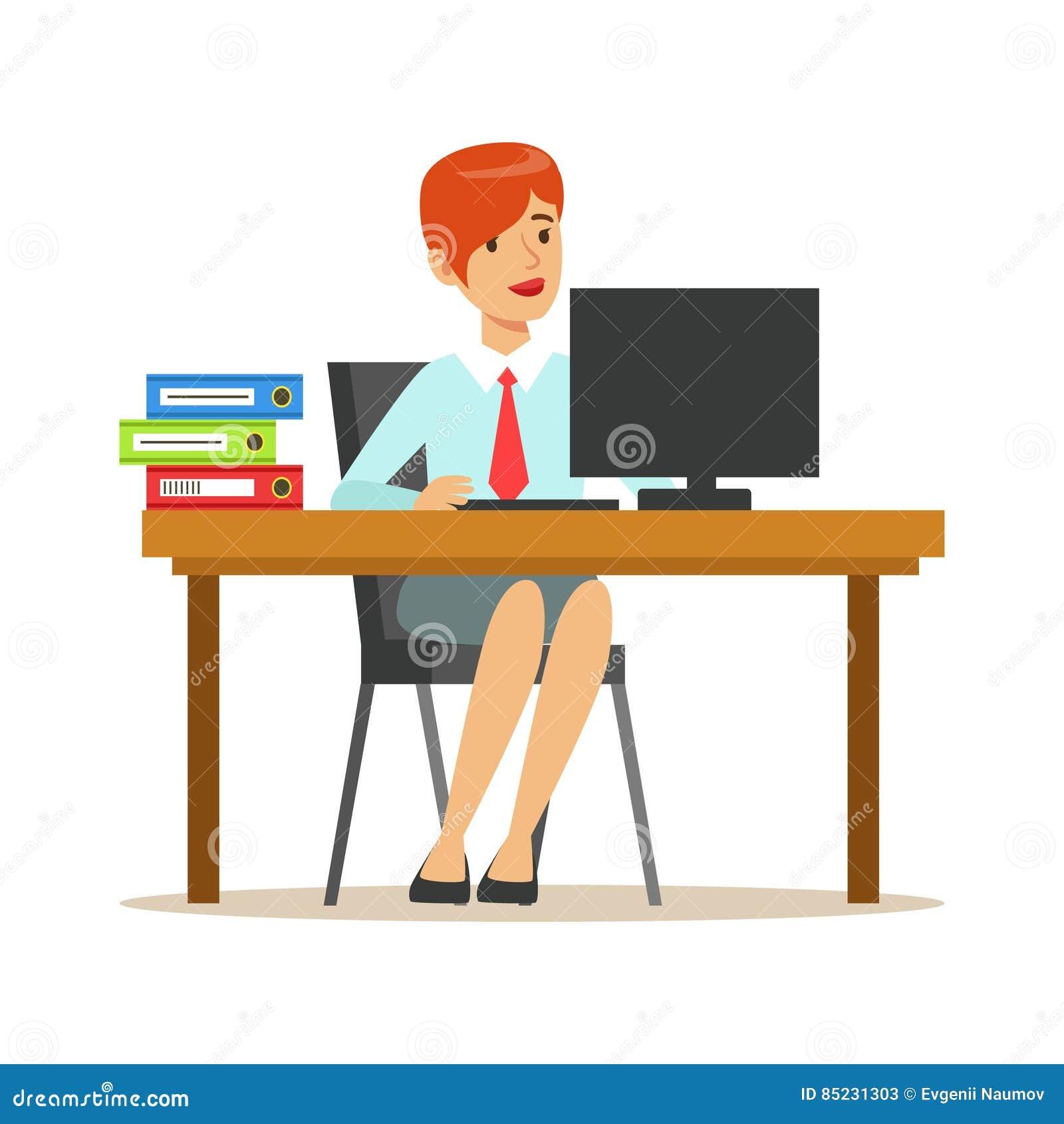 femme travaillant son bureau avec l 39 ordinateur et. Black Bedroom Furniture Sets. Home Design Ideas