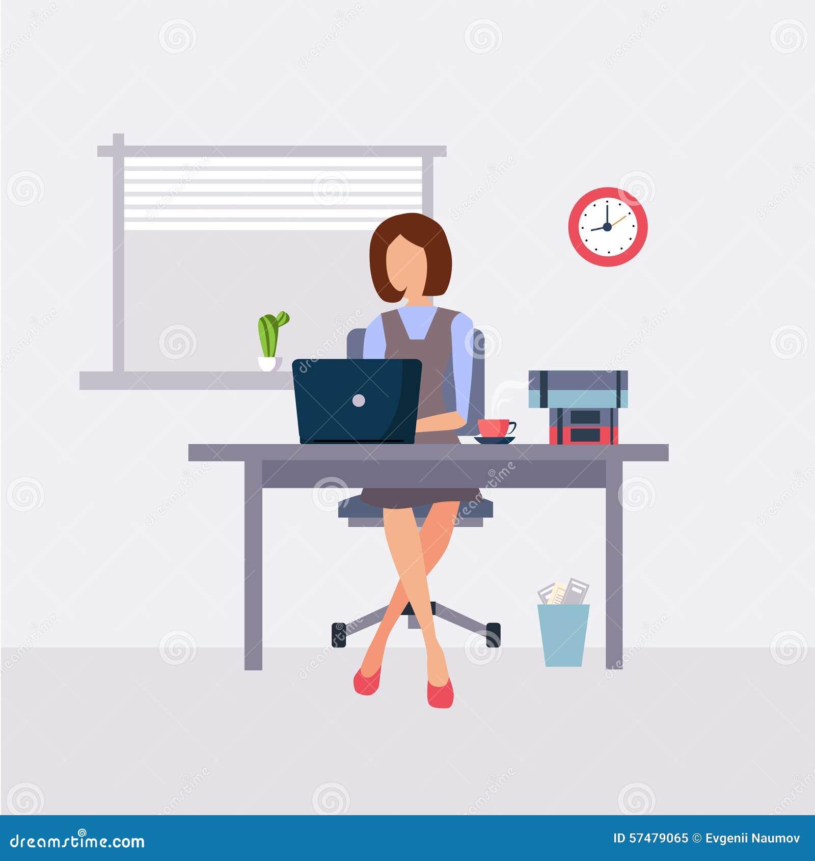 Femme travaillant dans le bureau illustration de vecteur image 57479065 for Photos gratuites travail bureau
