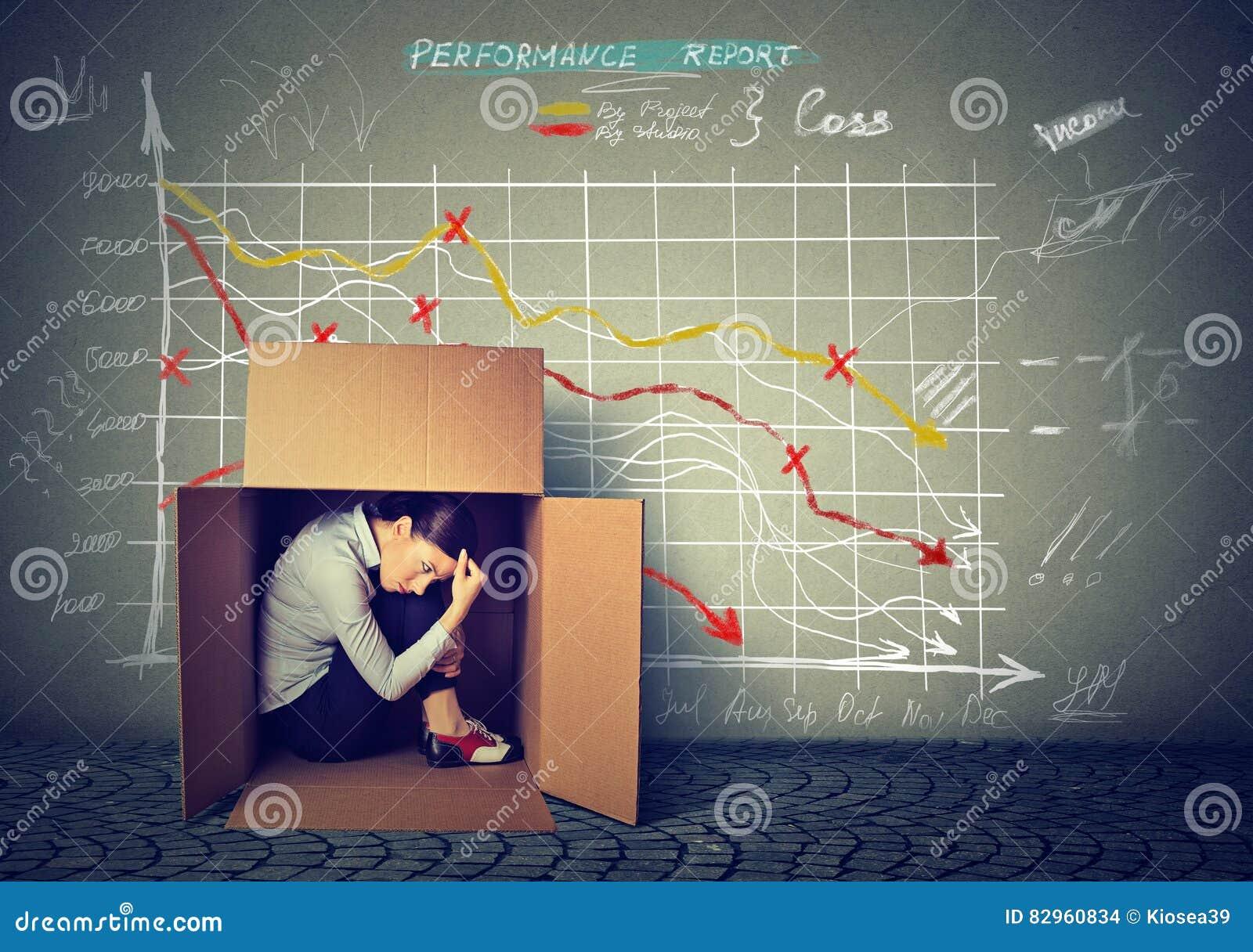 Femme triste s asseyant à l intérieur de la boîte se cachant de la mauvaise économie