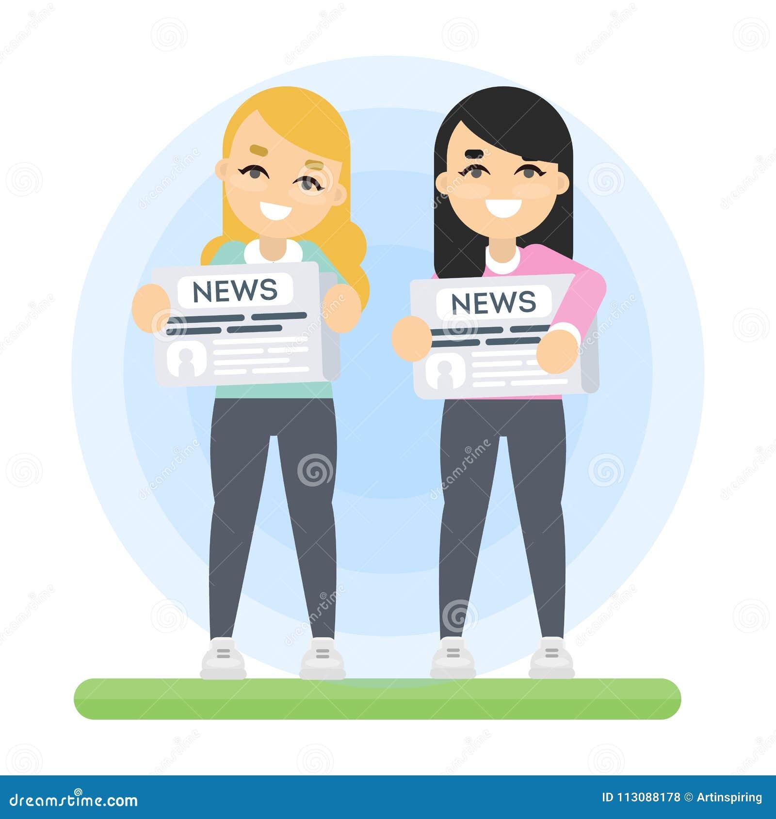 Femmes avec le journal