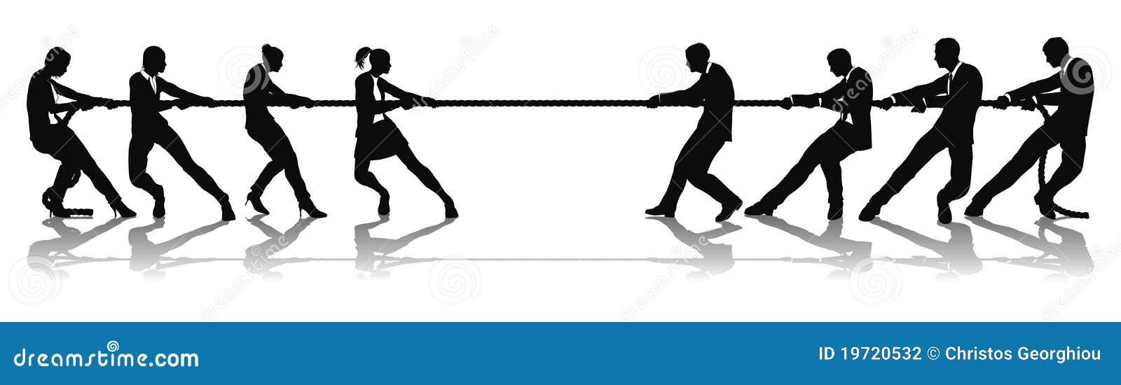 Femmes contre la concurrence de conflit d affaires des hommes