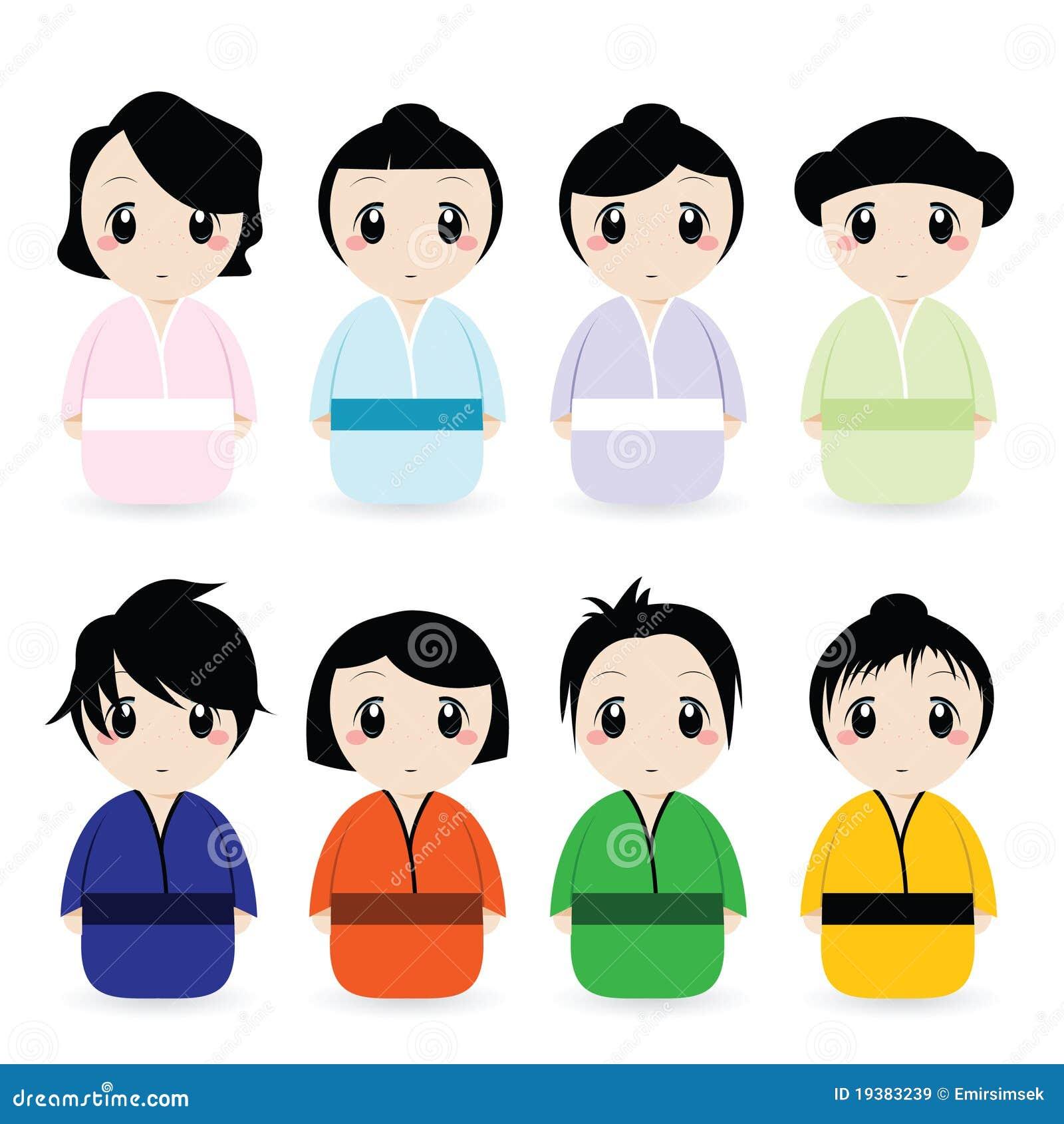 Femmes Japonaises De Dessin Anime Reglees Illustration De Vecteur