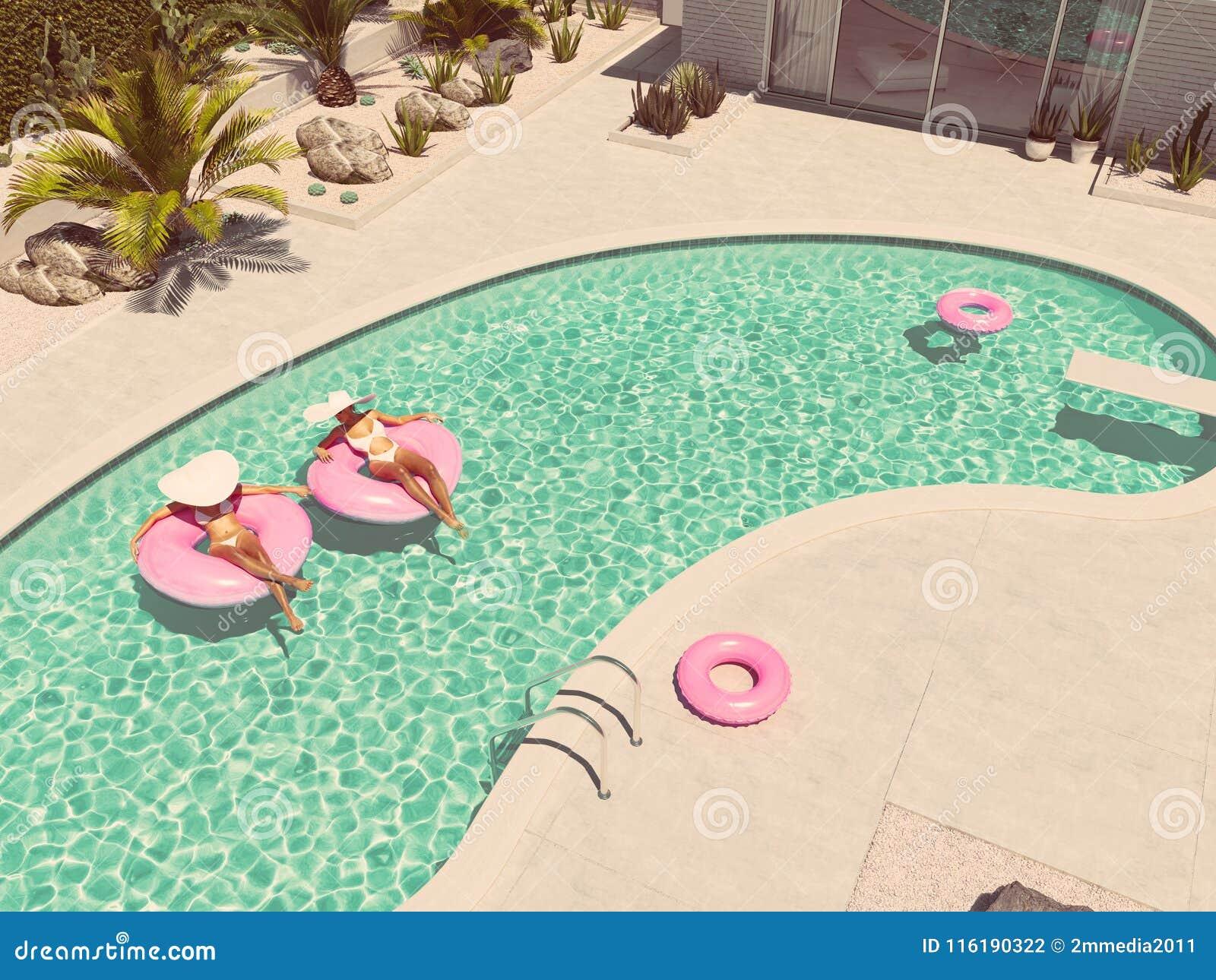 Femmes nageant sur le flotteur dans une piscine rendu 3d