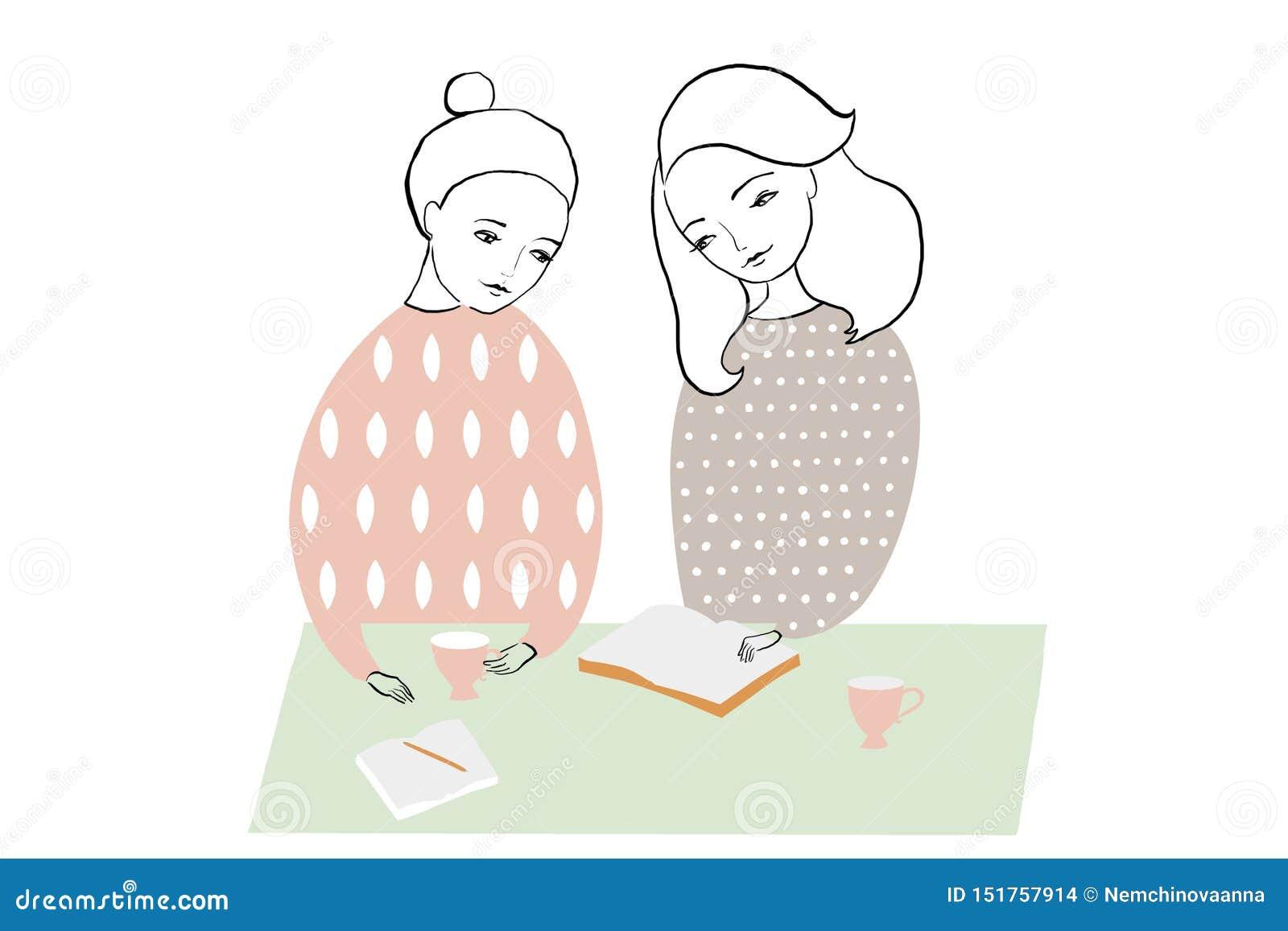 Femmes ou filles lisant et studing le livre, faisant des notes à la table Conception féminine de modèle