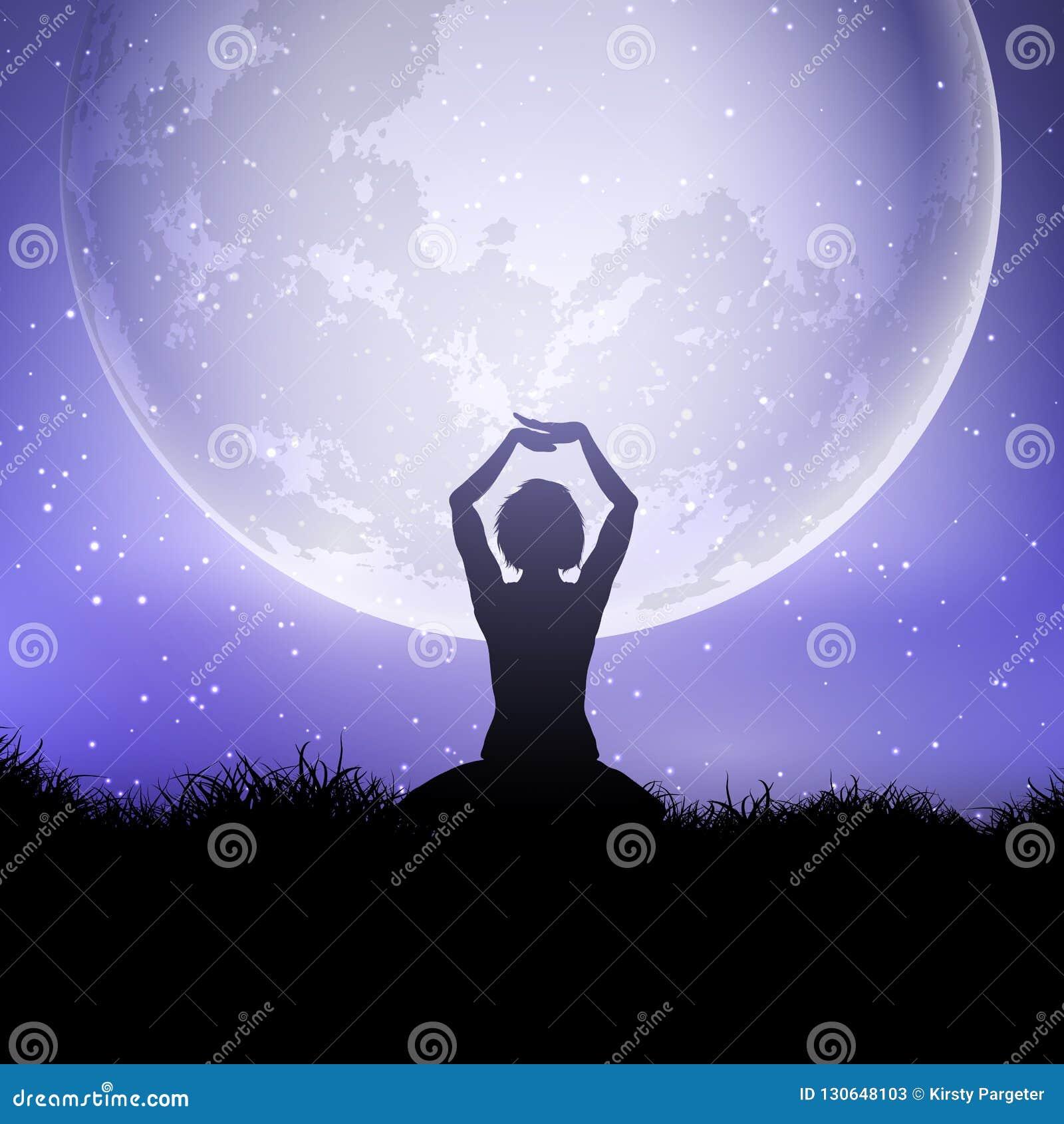Femmina nella posa di yoga contro un cielo illuminato dalla luna