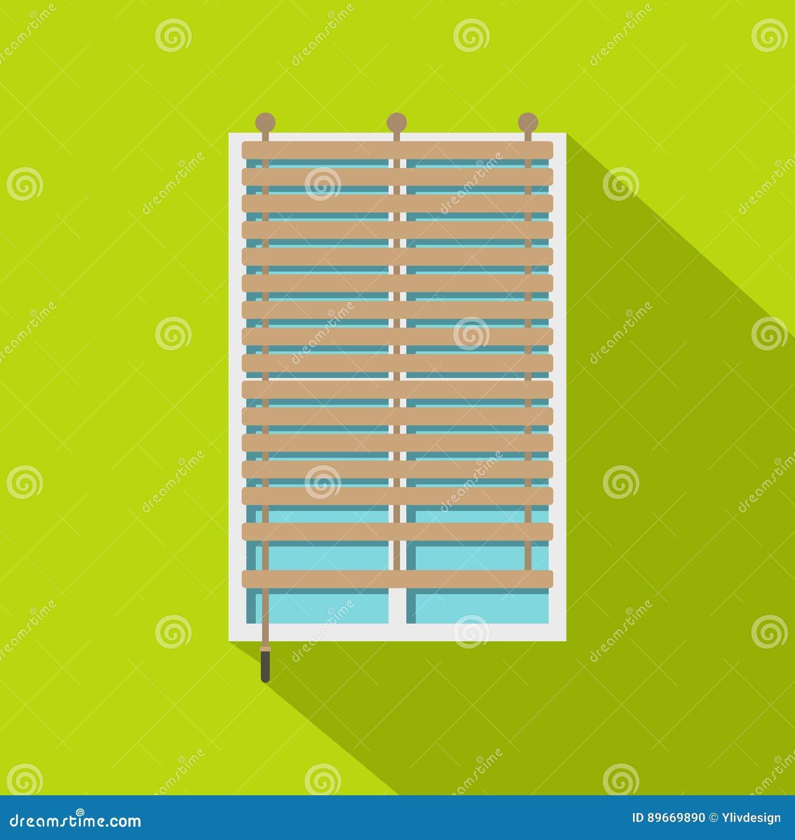 Fenêtre Avec Licône En Bois De Jalousie Style Plat Illustration De