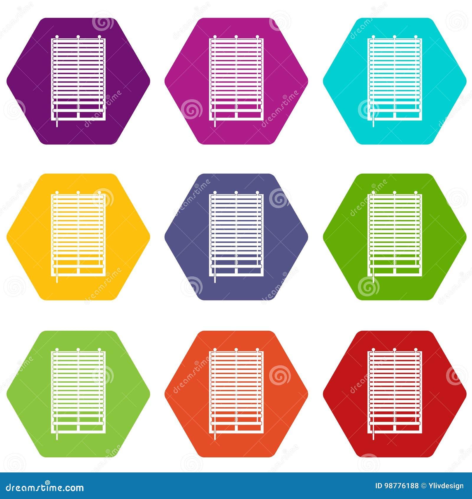 Fenêtre Avec Le Hexahedron Réglé De Couleur Dicône En Bois De