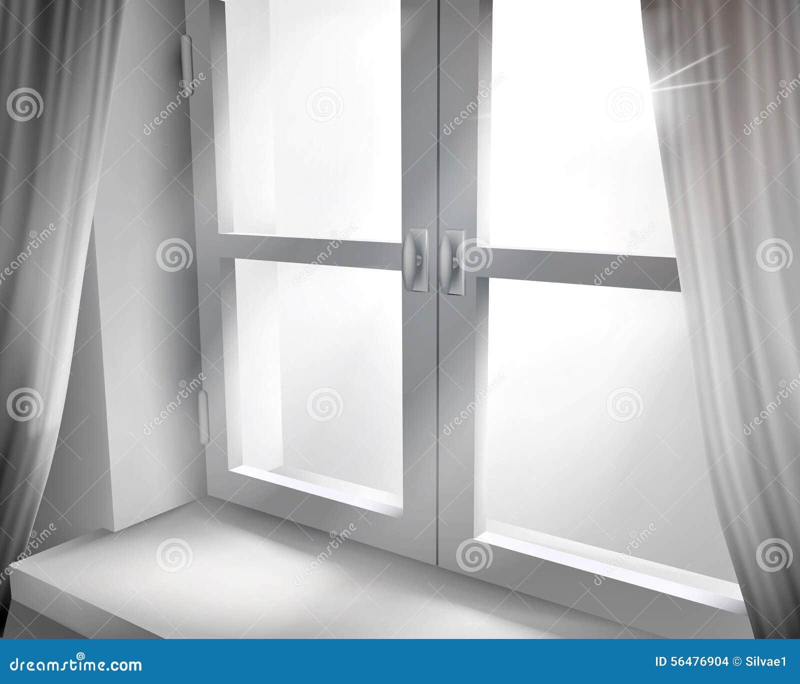 Fenêtre avec les rideaux nets Illustration de vecteur