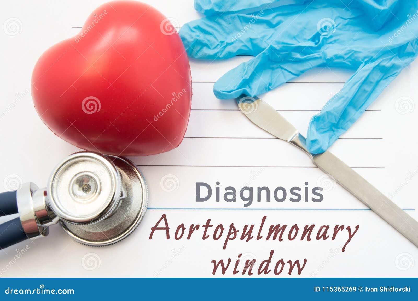 Fenêtre d Aortopulmonary de diagnostic Figure que le coeur, le stéthoscope, le scalpel chirurgical et les gants sont fenêtre proc