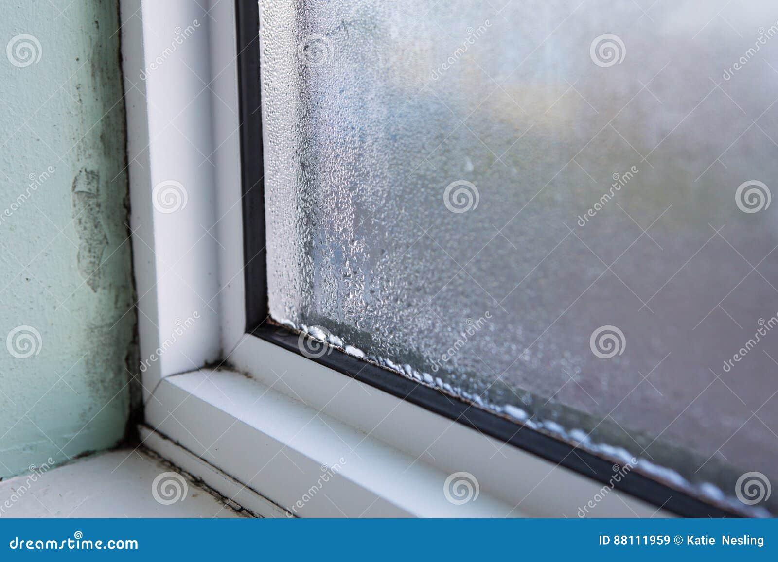 Fenêtre de Chambre avec l humidité et la condensation