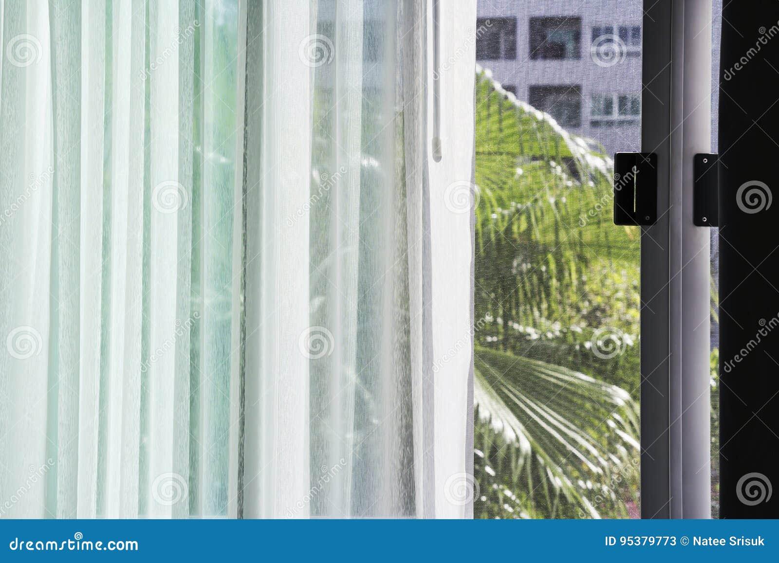 Fenêtre De Glissement En Aluminium De Rideau Blanc Avec Lécran De