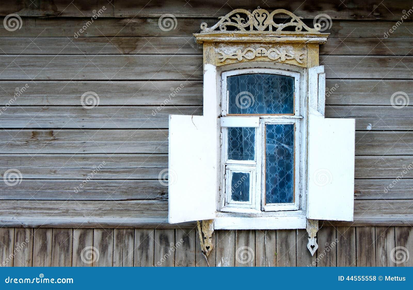 fen tre de vintage d 39 une vieille maison en bois en russie photo stock image 44555558. Black Bedroom Furniture Sets. Home Design Ideas