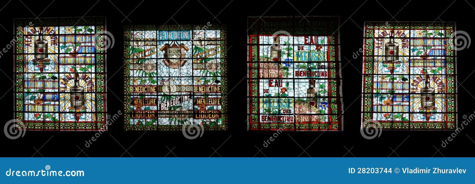 Fenêtre en verre teinté. Musée bénédictin de palais dans Fecamp
