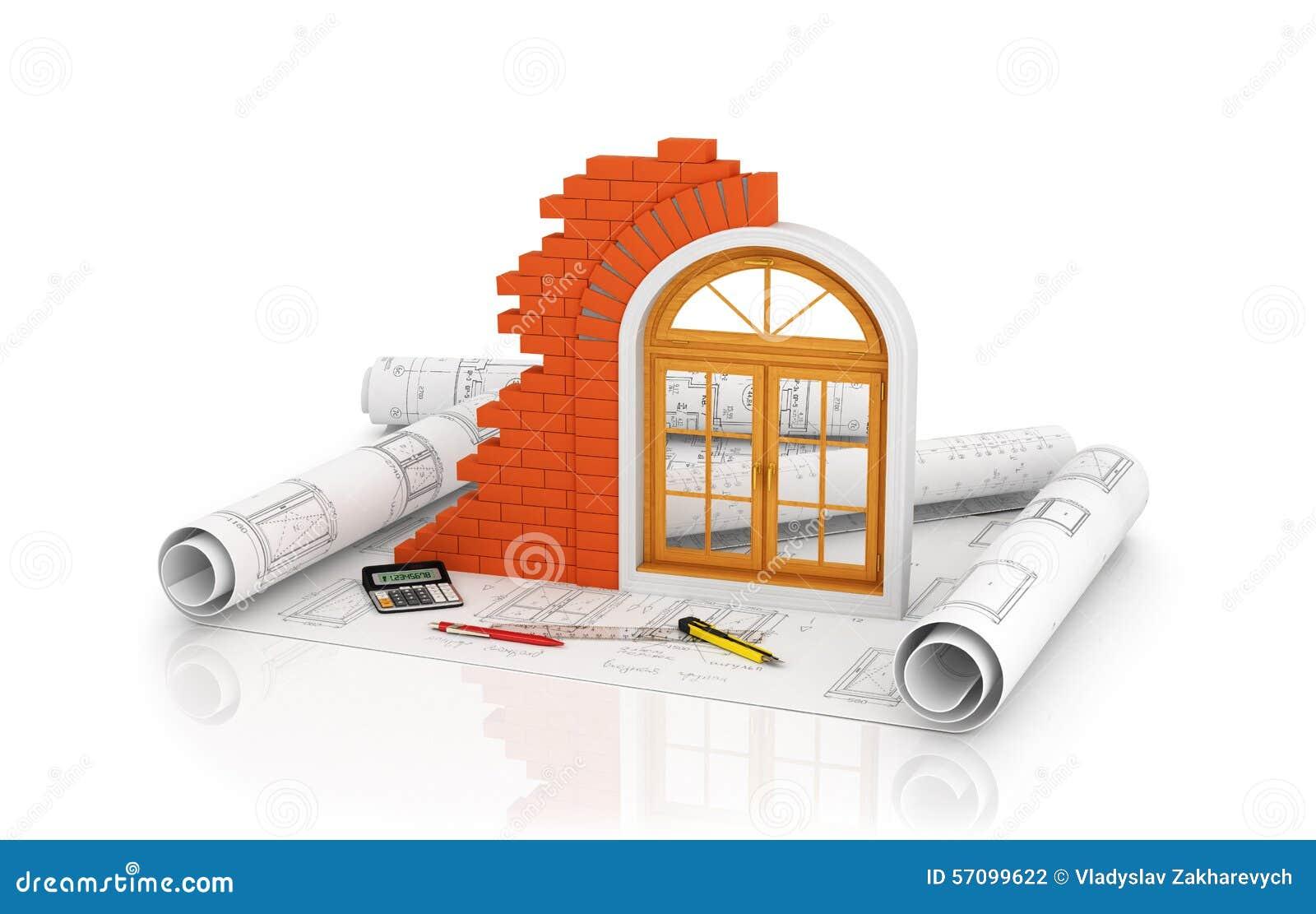 Fenêtre Mur De Briques Sur Le Dessin De Plan Illustration Stock