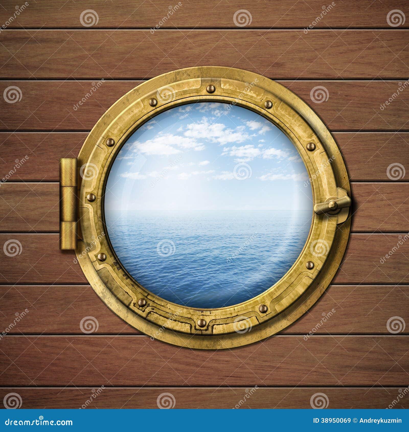 Fen tre ou hublot de bateau avec la mer ou l 39 oc an for Fenetre bateau