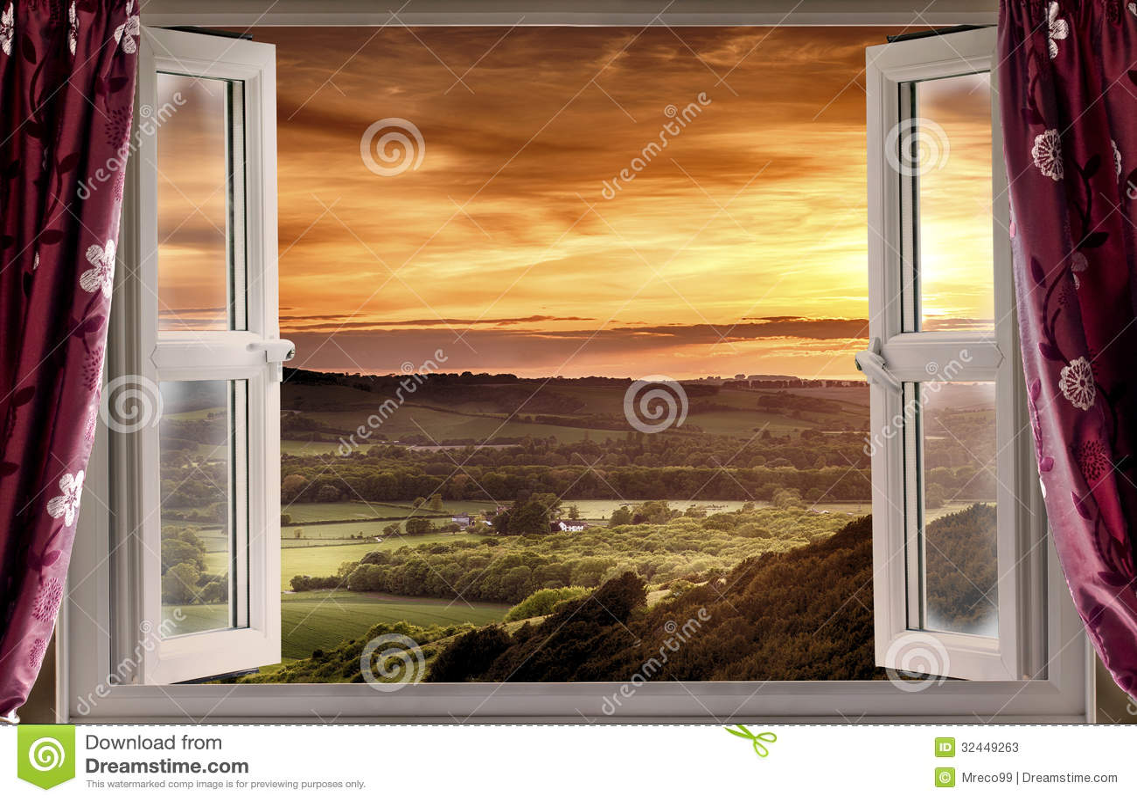 Fen tre ouverte au paysage rural photos stock image for Fenetre ouverte sur paysage