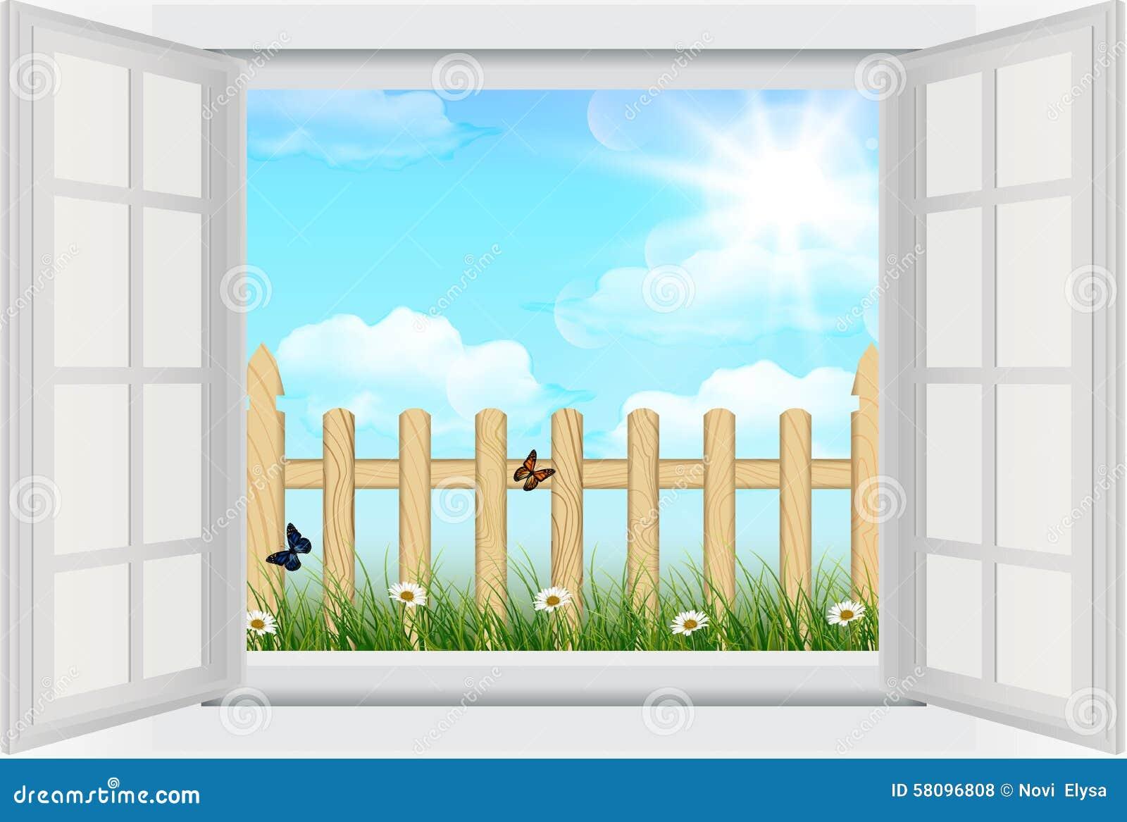 fen tre ouverte avec le fond de ressort l 39 herbe et la barri re en bois illustration de vecteur. Black Bedroom Furniture Sets. Home Design Ideas