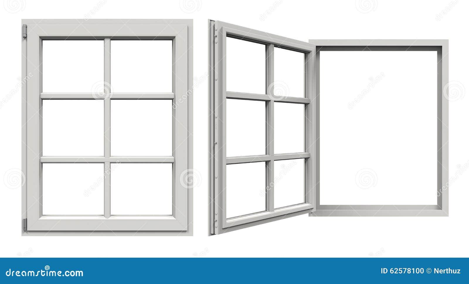Fen tre ouverte et ferm e illustration stock image 62578100 for Une fenetre ouverte