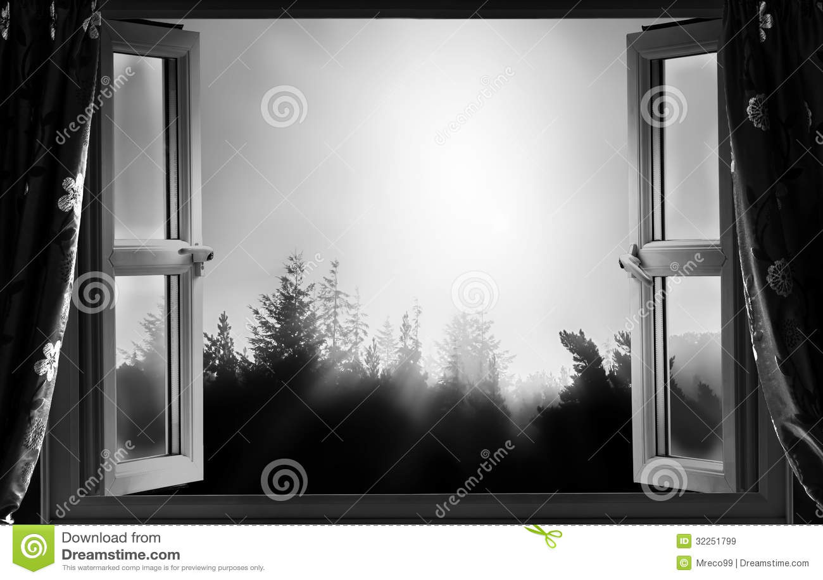 fen tre ouverte la nuit en noir et blanc image stock