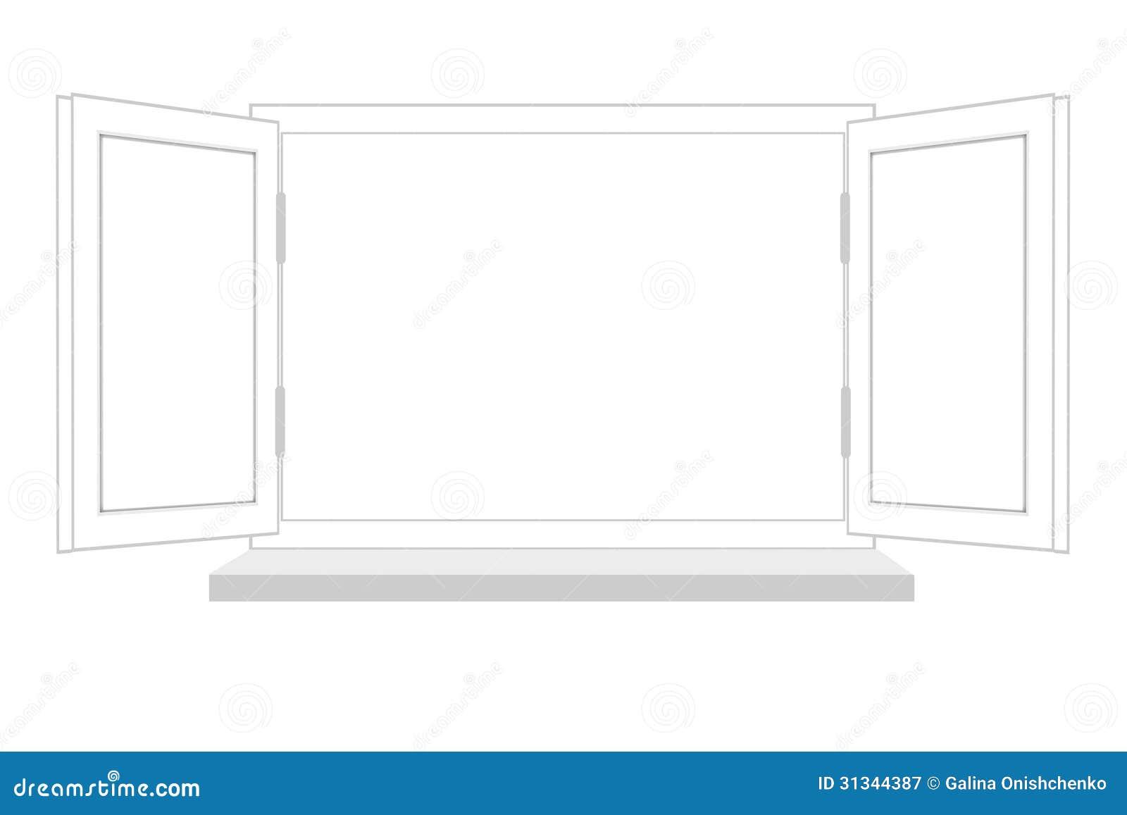 Fen tre ouverte sur un fond blanc il est isol for Fenetre entre ouverte