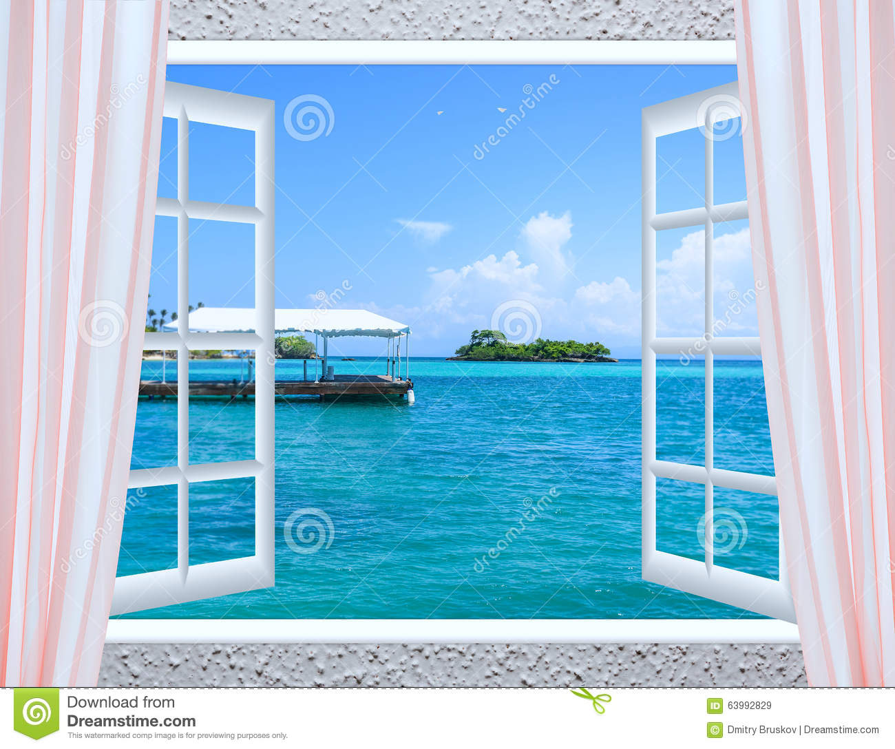 Fen tre ouverte vers la mer image stock image 63992829 for Fenetre dos windows 7