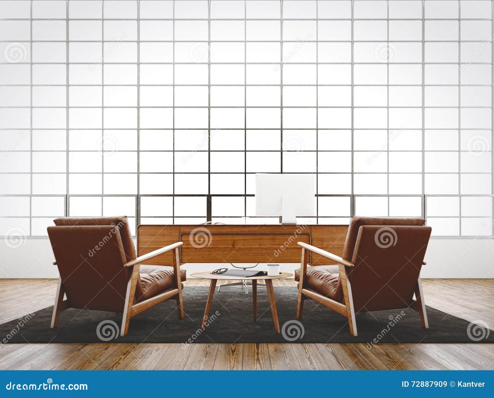 Fenêtre panoramique énorme de grenier intérieur moderne de studio, plancher naturel de couleur, murs vides blancs Meubles génériq