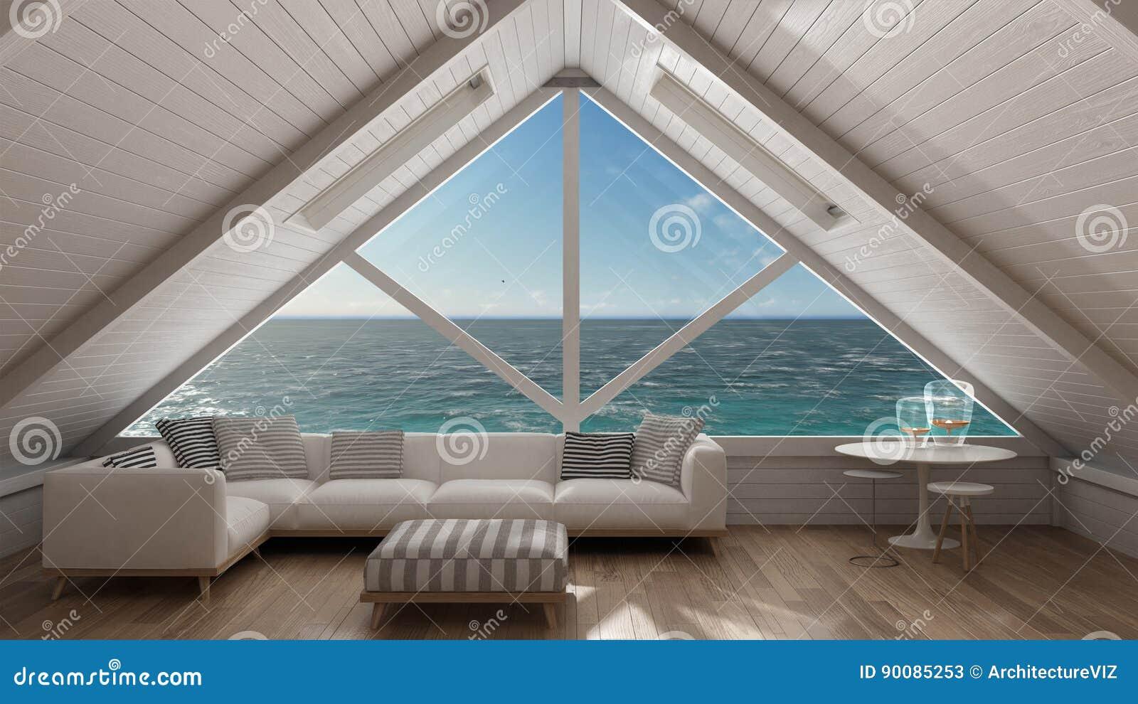 Fenêtre Panoramique Sur L\'océan De Mer Ouverte, Grenier De Mezzanine ...