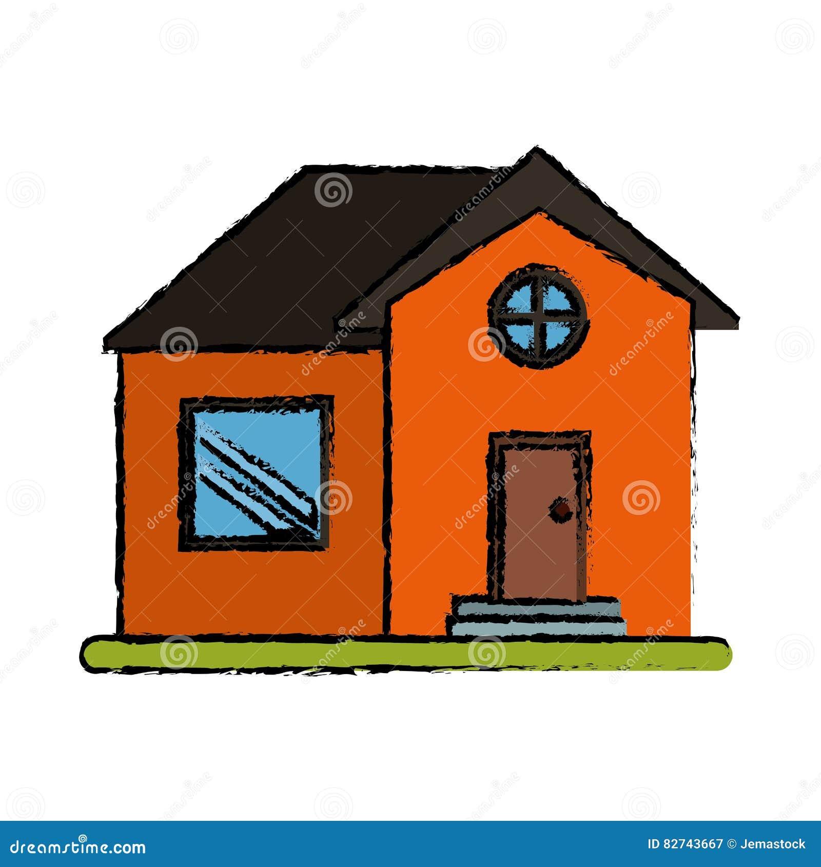 Fen tre ronde de dessin de maison de propri t orange de - Orange dessin ...